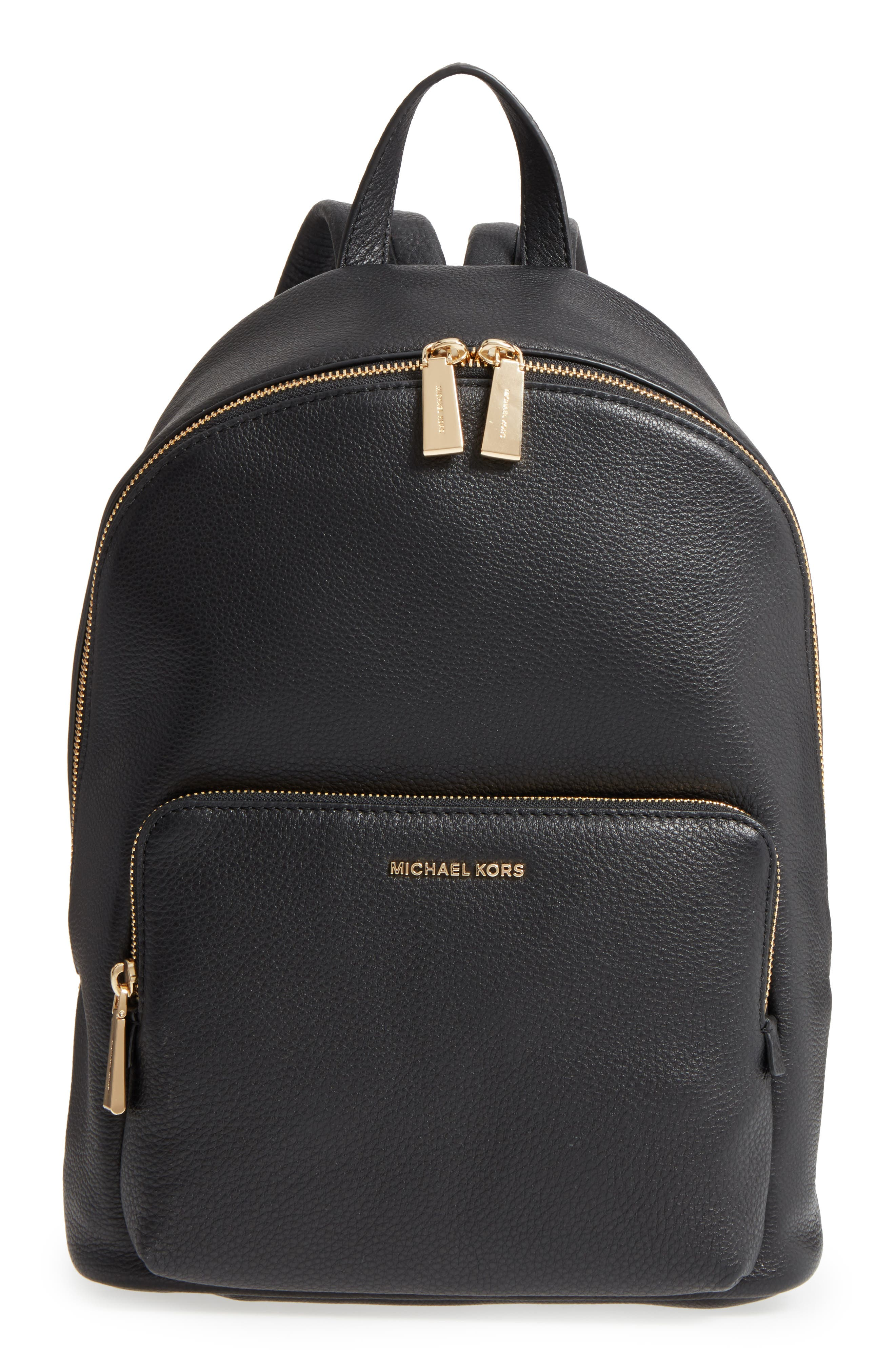 Large Wythe Leather Backpack,                             Main thumbnail 1, color,                             001