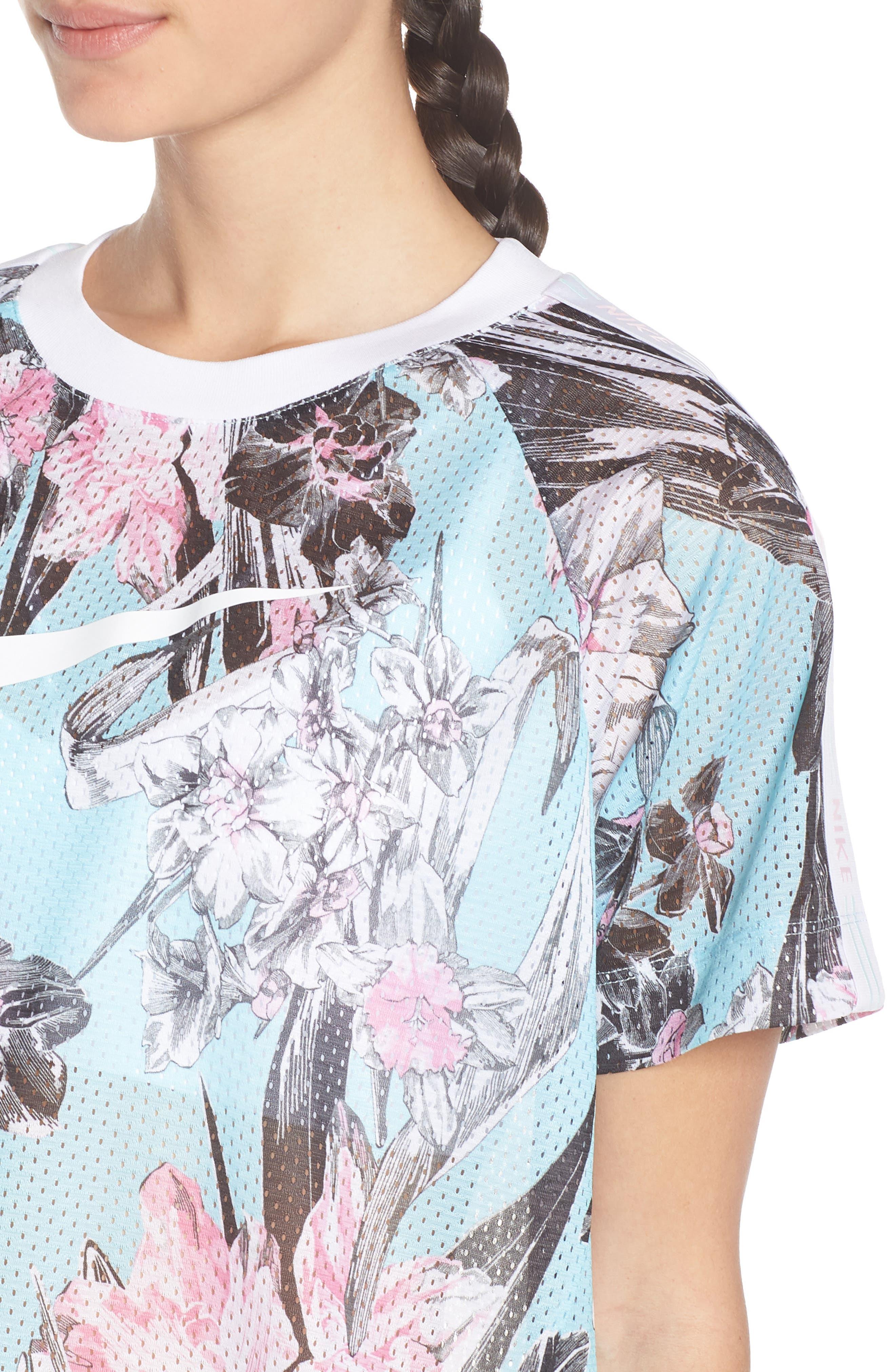 Sportswear Floral Print Mesh Top,                             Alternate thumbnail 4, color,                             TOPAZ MIST/ WHITE