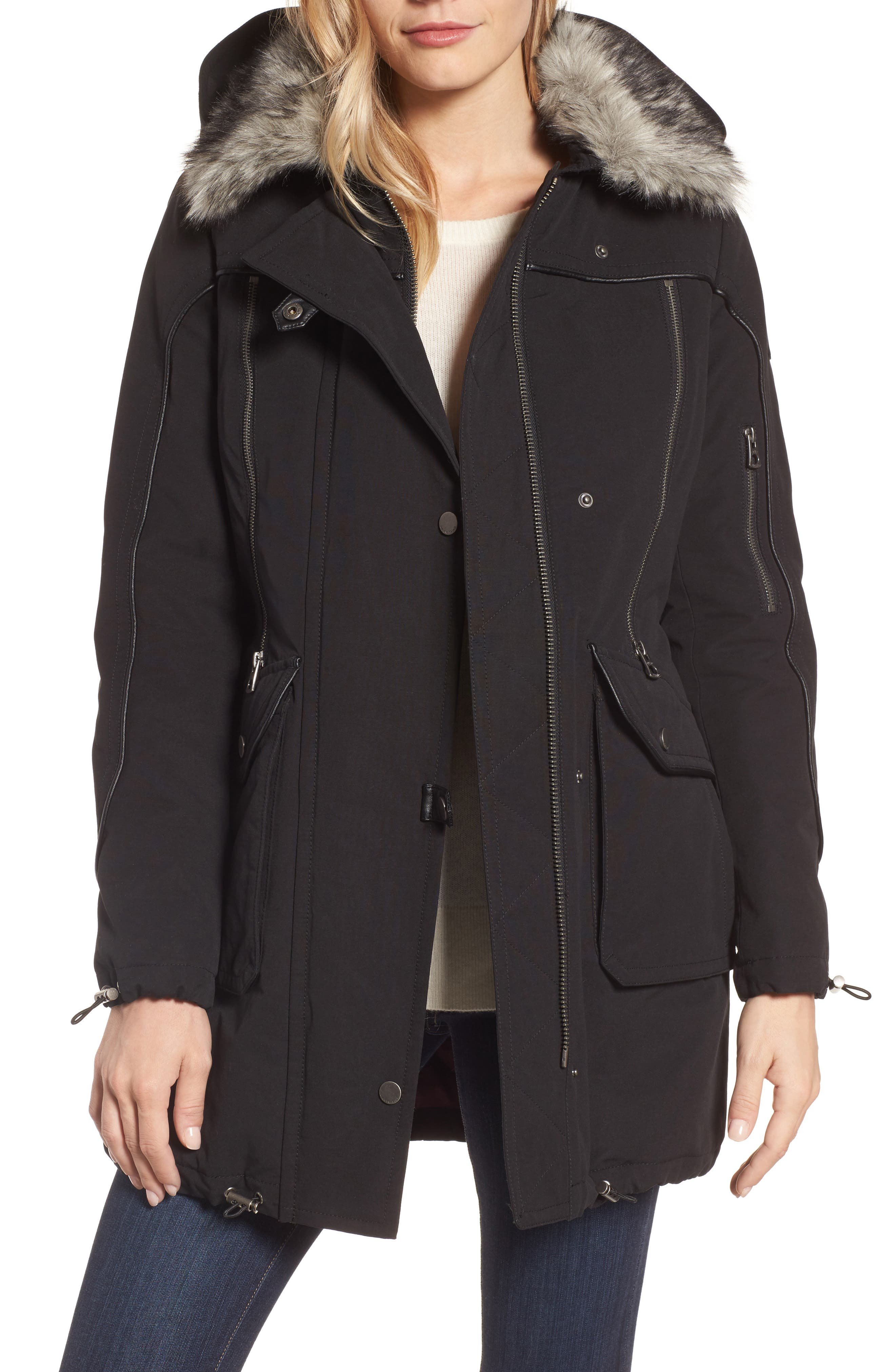 Zip Detail Parka with Faux Fur,                             Main thumbnail 1, color,                             001