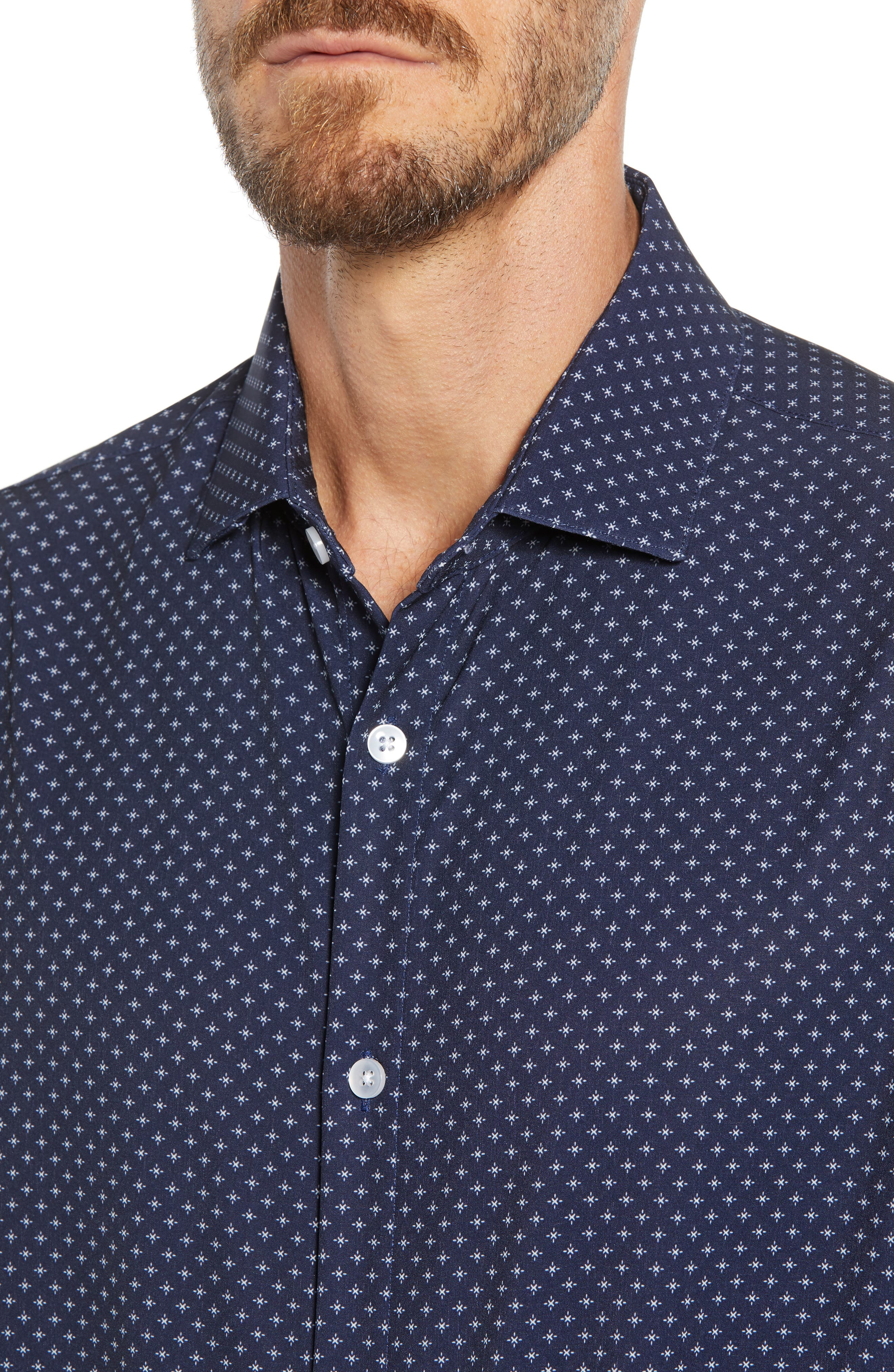 Ballard Regular Fit Print Performance Sport Shirt,                             Alternate thumbnail 2, color,                             NAVY