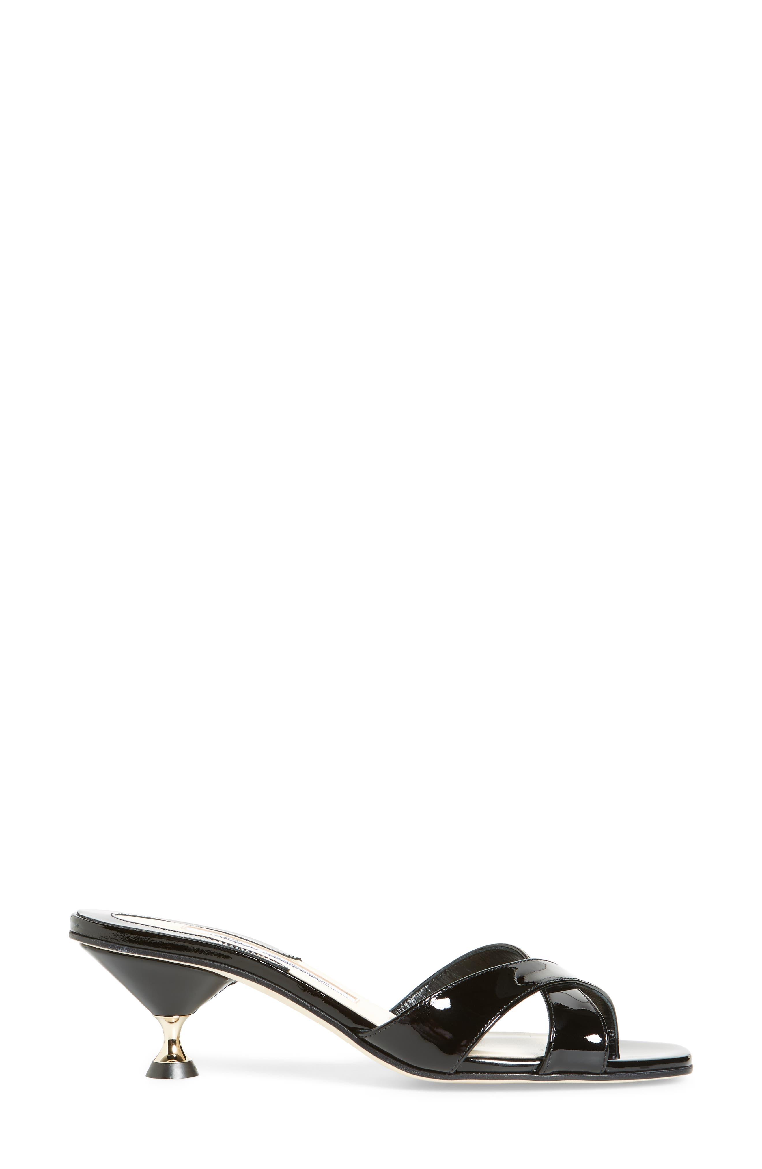 Cinzia Crisscross Slide,                             Alternate thumbnail 3, color,                             BLACK PATENT