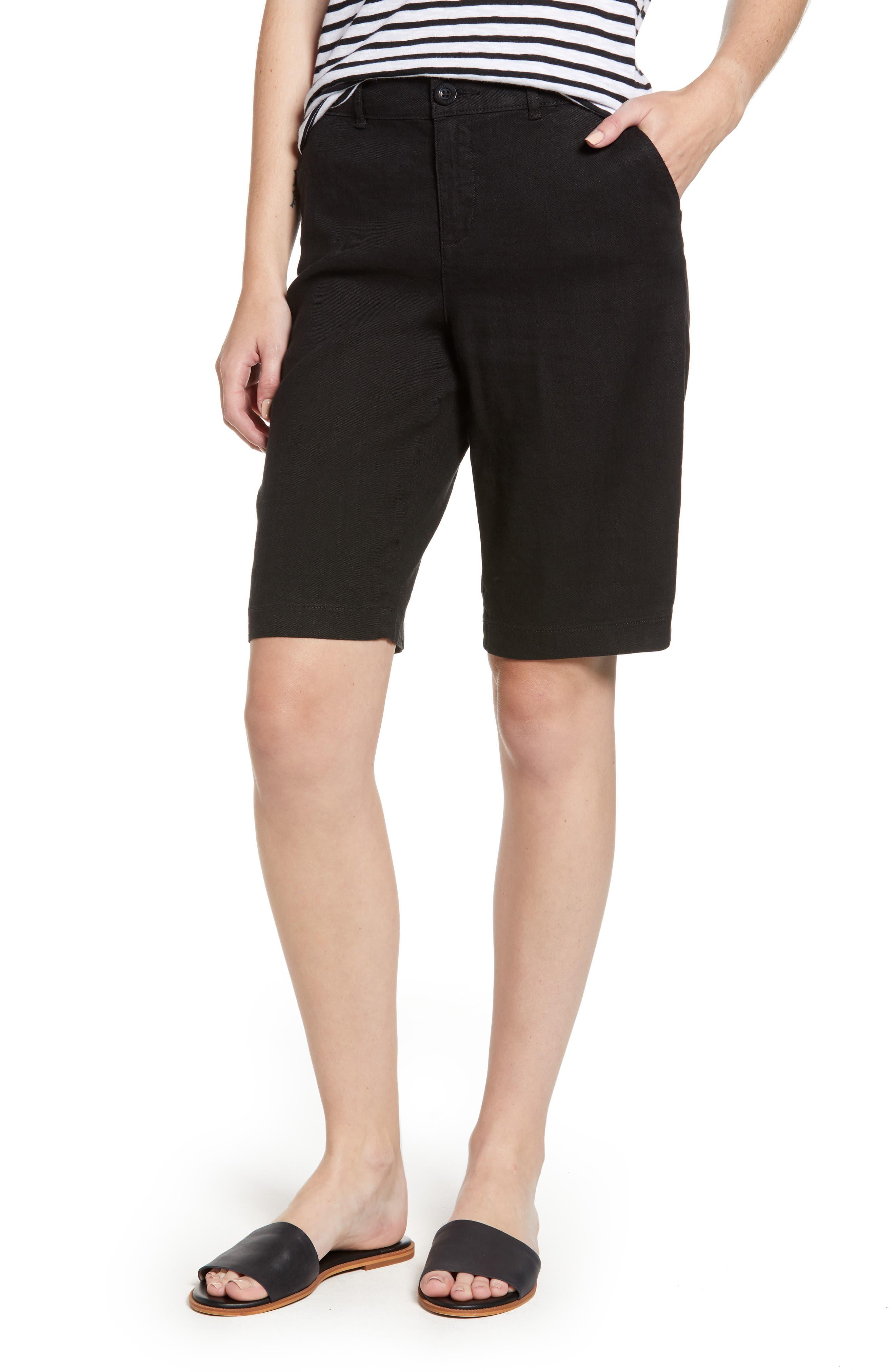Stretch Linen Blend Bermuda Shorts,                             Main thumbnail 1, color,                             001