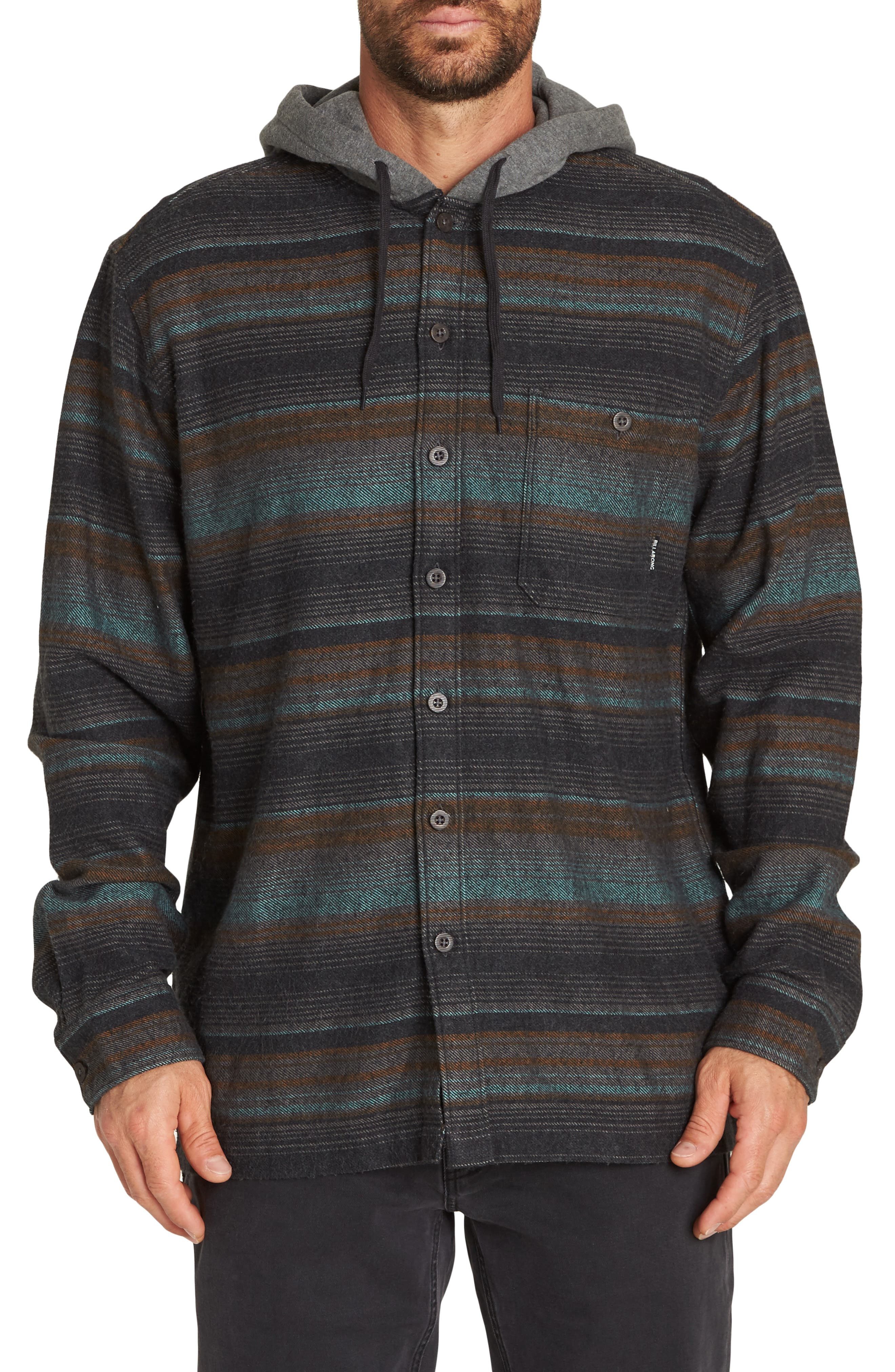 Baja Hooded Flannel Shirt,                             Main thumbnail 1, color,                             BLACK