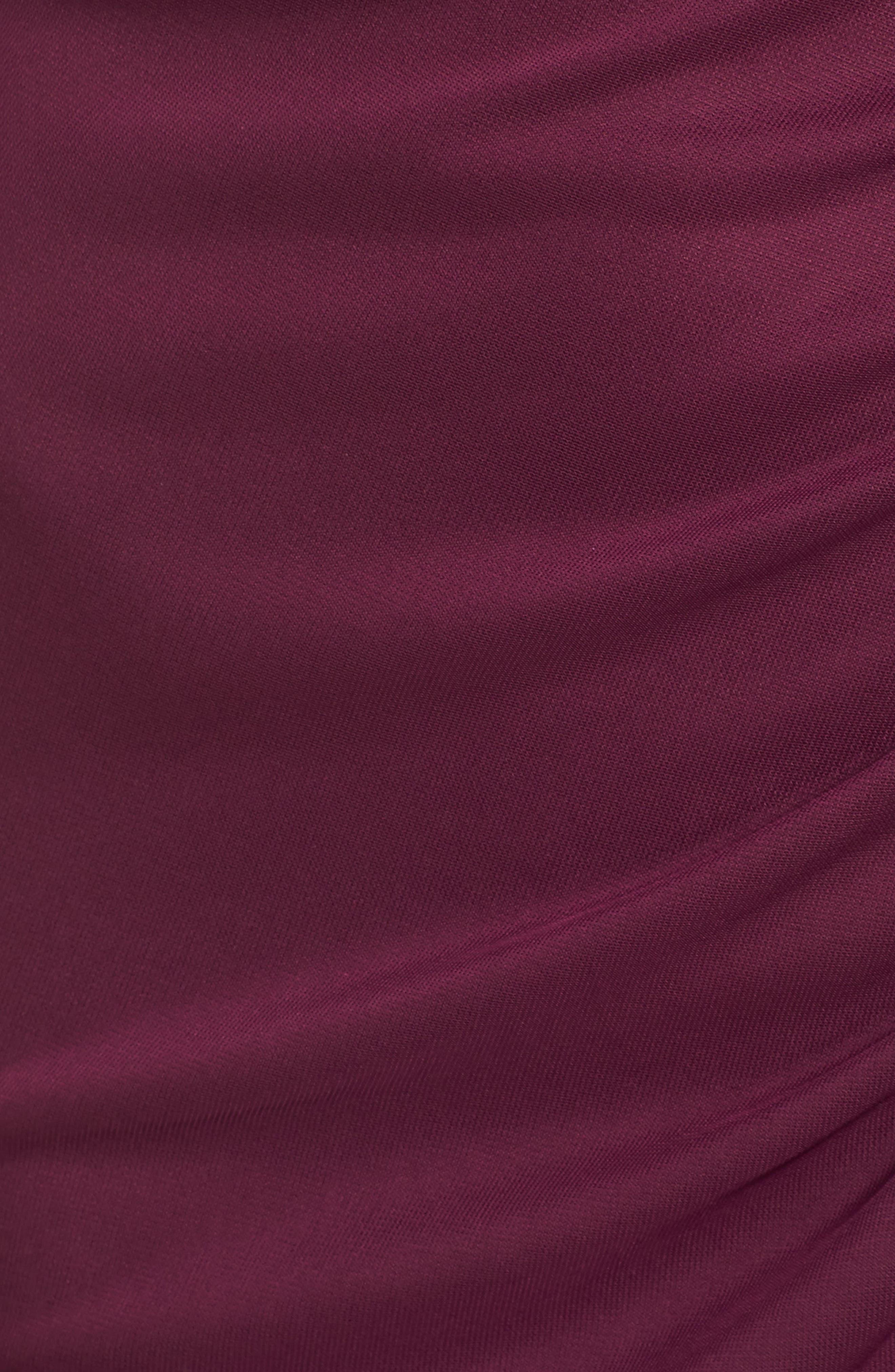 Ruffle Detail Column Gown,                             Alternate thumbnail 6, color,                             PLUM