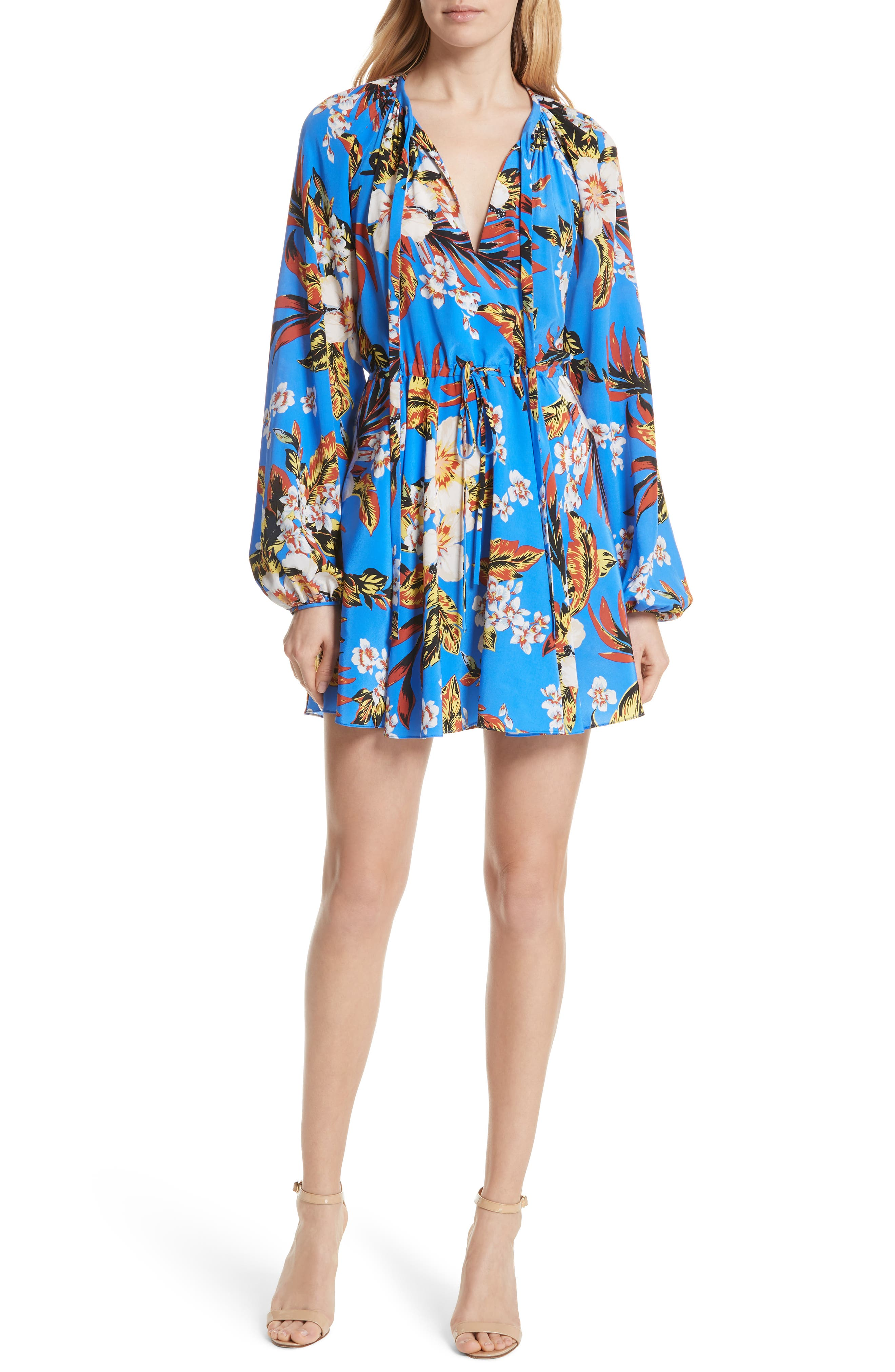 Tie Waist Floral Silk Dress,                             Main thumbnail 1, color,                             453