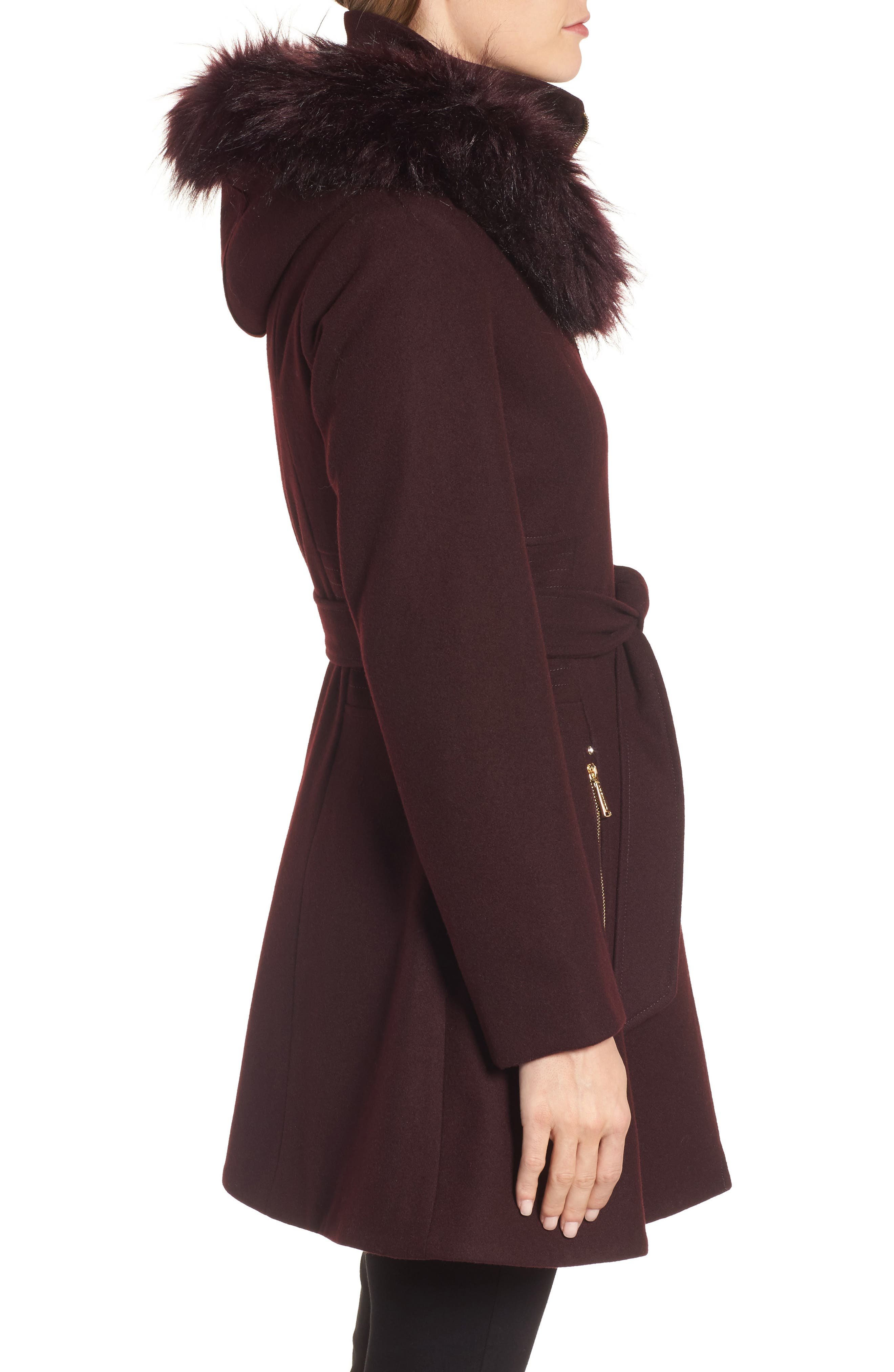Belted Fit & Flare Coat with Faux Fur Trim,                             Alternate thumbnail 7, color,