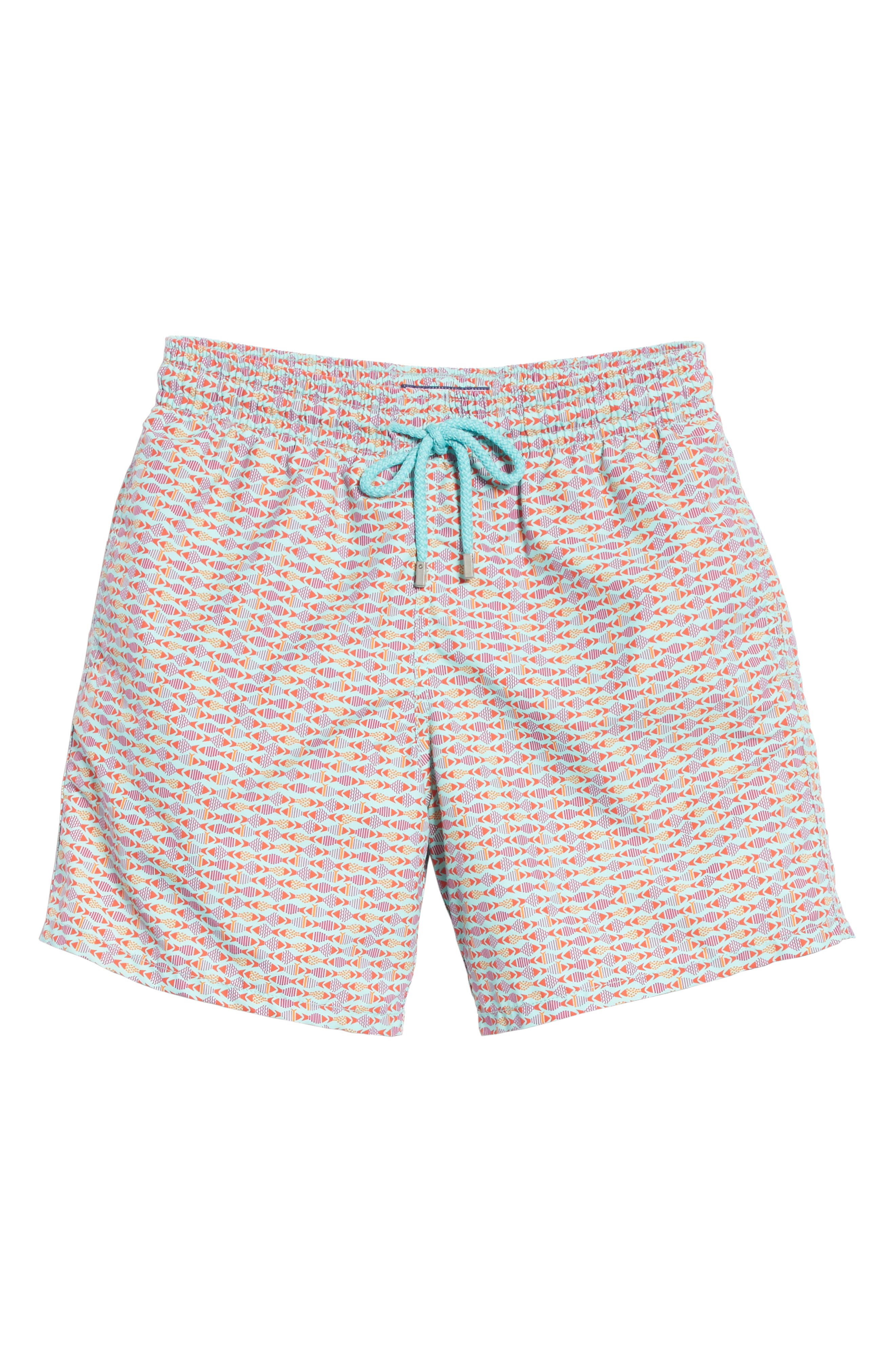 Modernist Fish Print Swim Trunks,                             Alternate thumbnail 6, color,                             LAGOON