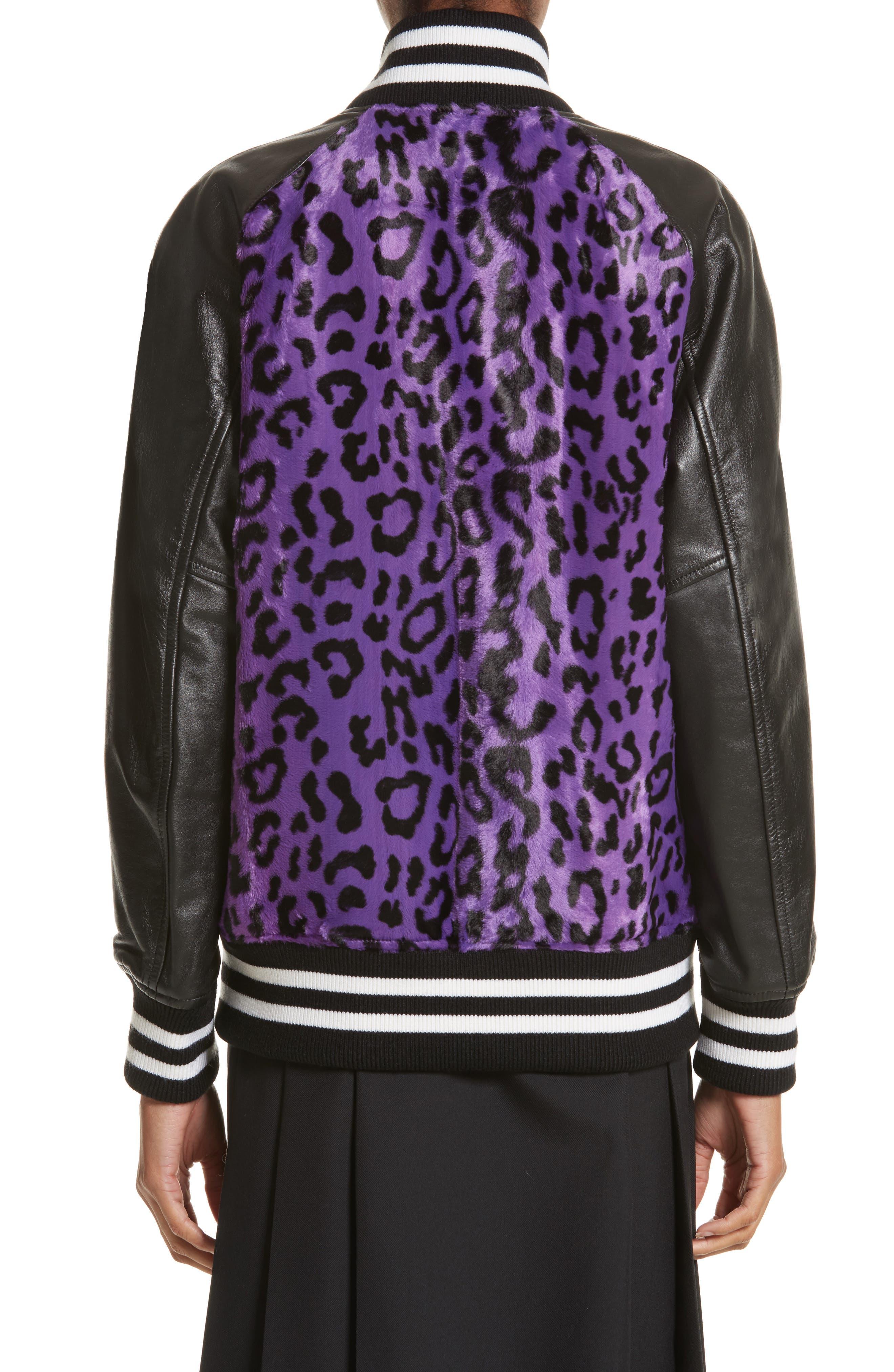 Cheetah Print Faux Fur & Leather Track Jacket,                             Alternate thumbnail 2, color,                             540