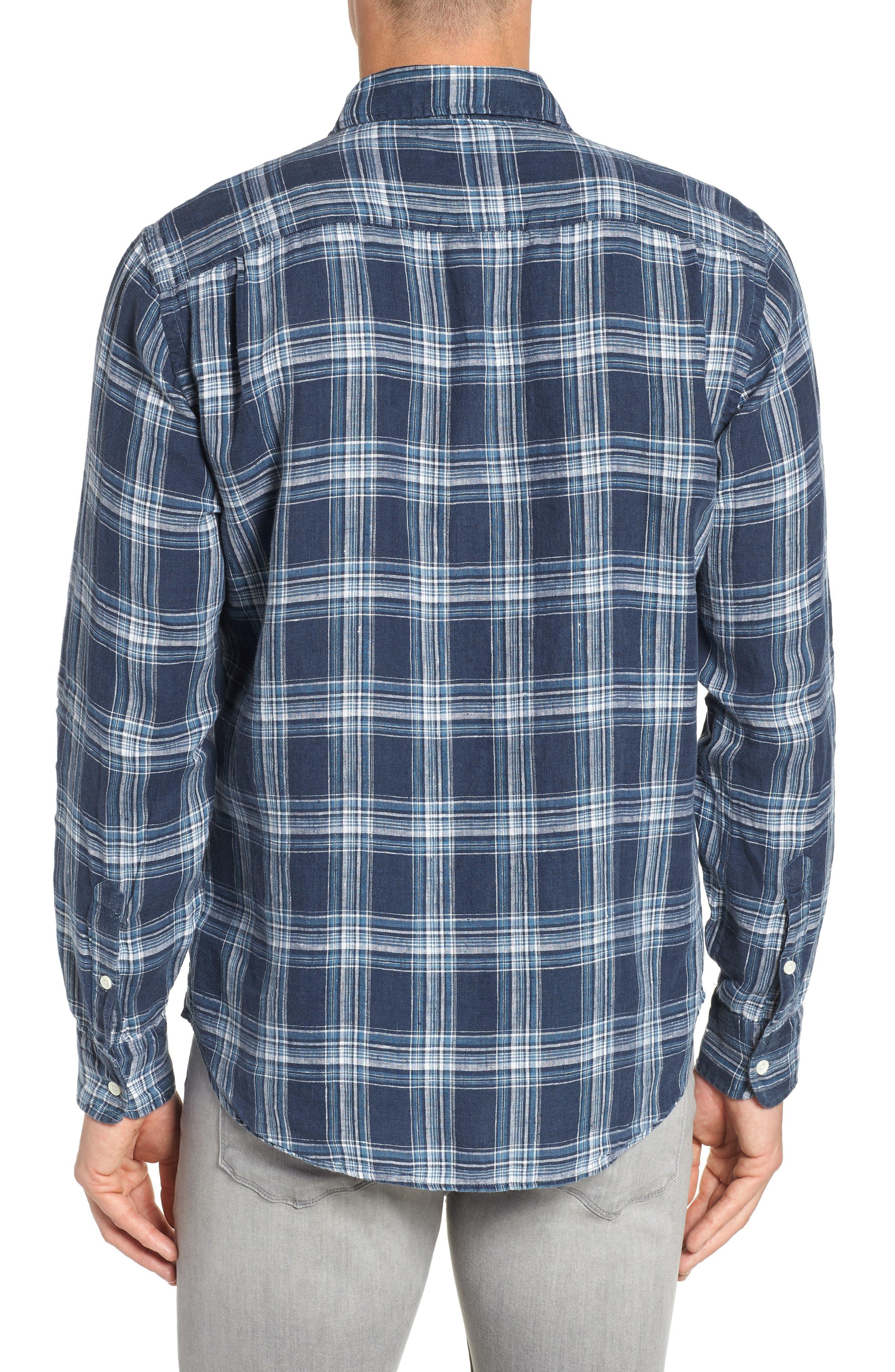 Ventura Check Linen Sport Shirt,                             Alternate thumbnail 3, color,                             400
