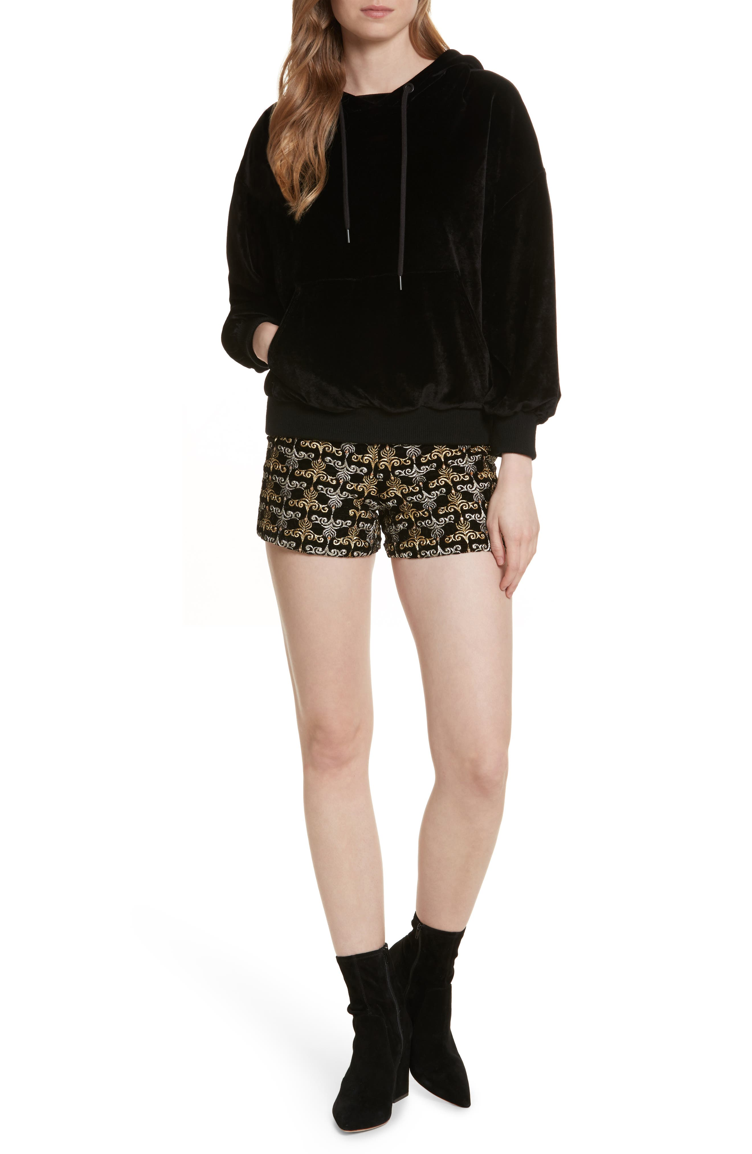 Marisa Embroidered Back Zip Shorts,                             Alternate thumbnail 7, color,                             002