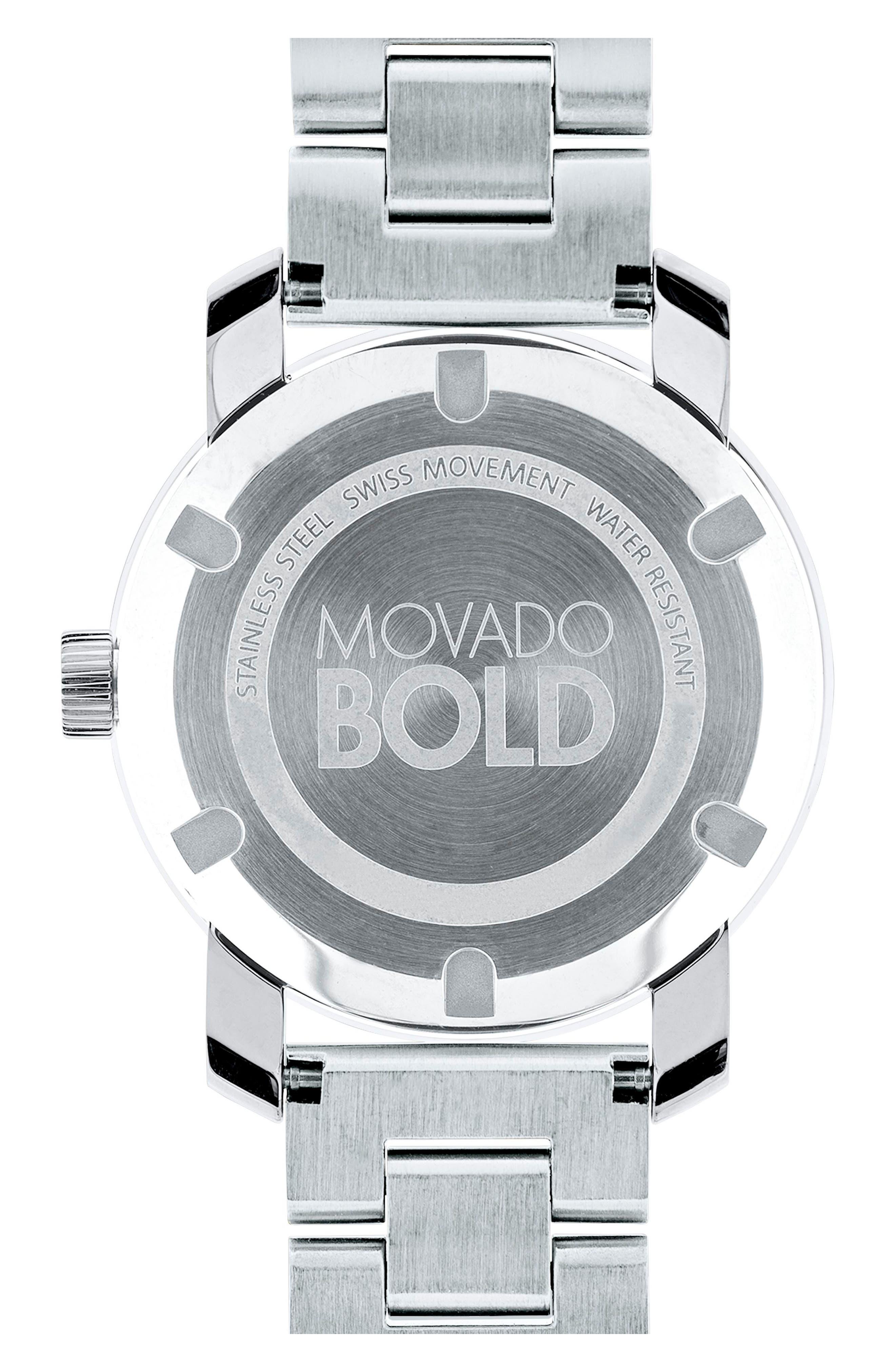 'Bold' Round Bracelet Watch, 36mm,                             Alternate thumbnail 2, color,                             SILVER