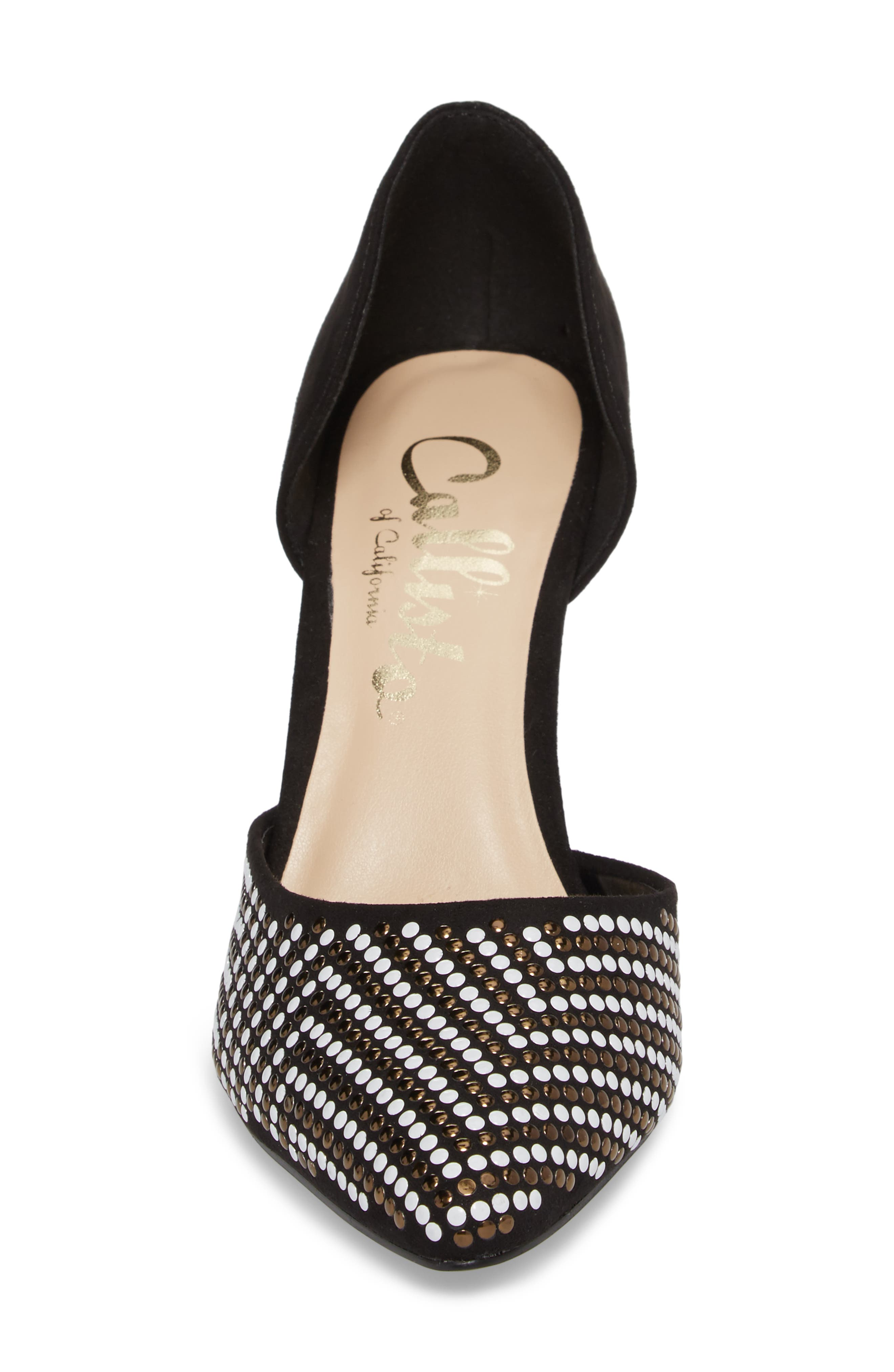 Mimosa Studded d'Orsay Pump,                             Alternate thumbnail 4, color,                             BLACK SUEDE