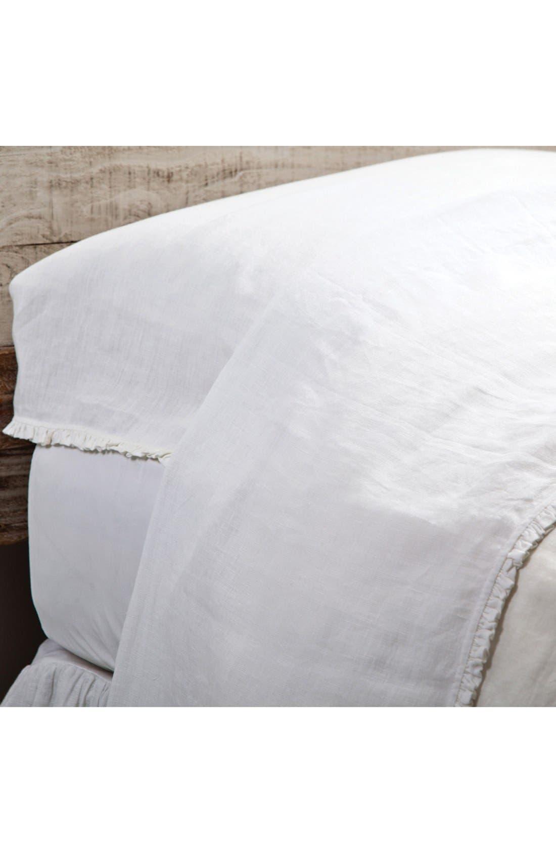 'Charlie' Linen Flat Sheet,                             Main thumbnail 1, color,                             WHITE
