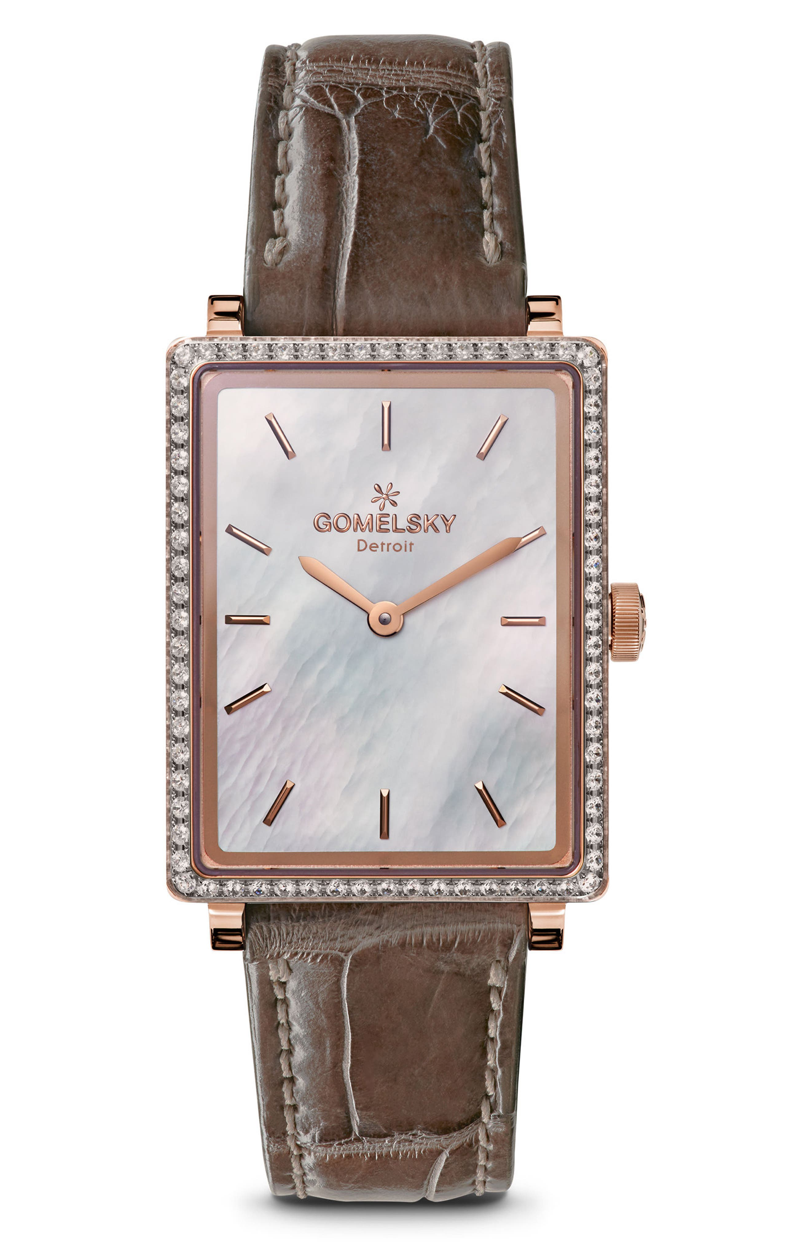 The Shirley Fromer Diamond Alligator Strap Watch, 25mm x 32mm,                         Main,                         color, GREY/ MOP/ ROSE GOLD