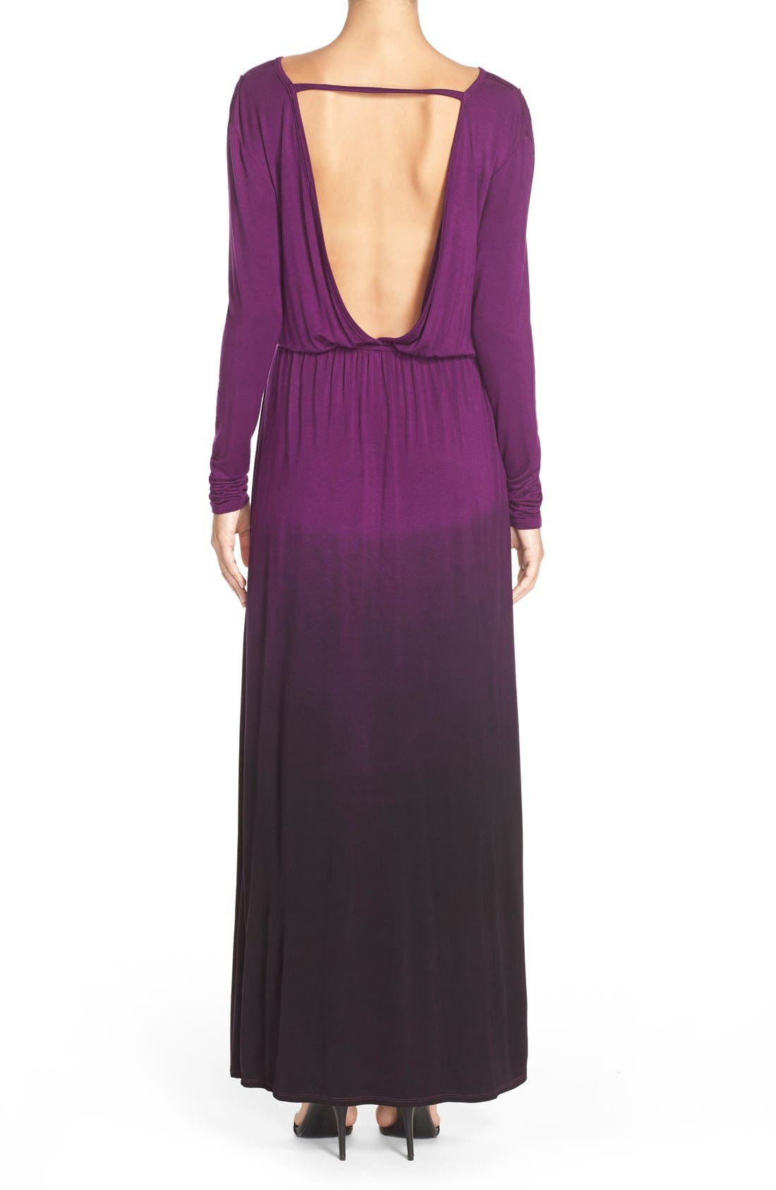 Tie Dye Faux Wrap Maxi Dress,                             Alternate thumbnail 2, color,                             PURPLE/ BLACK OMBRE