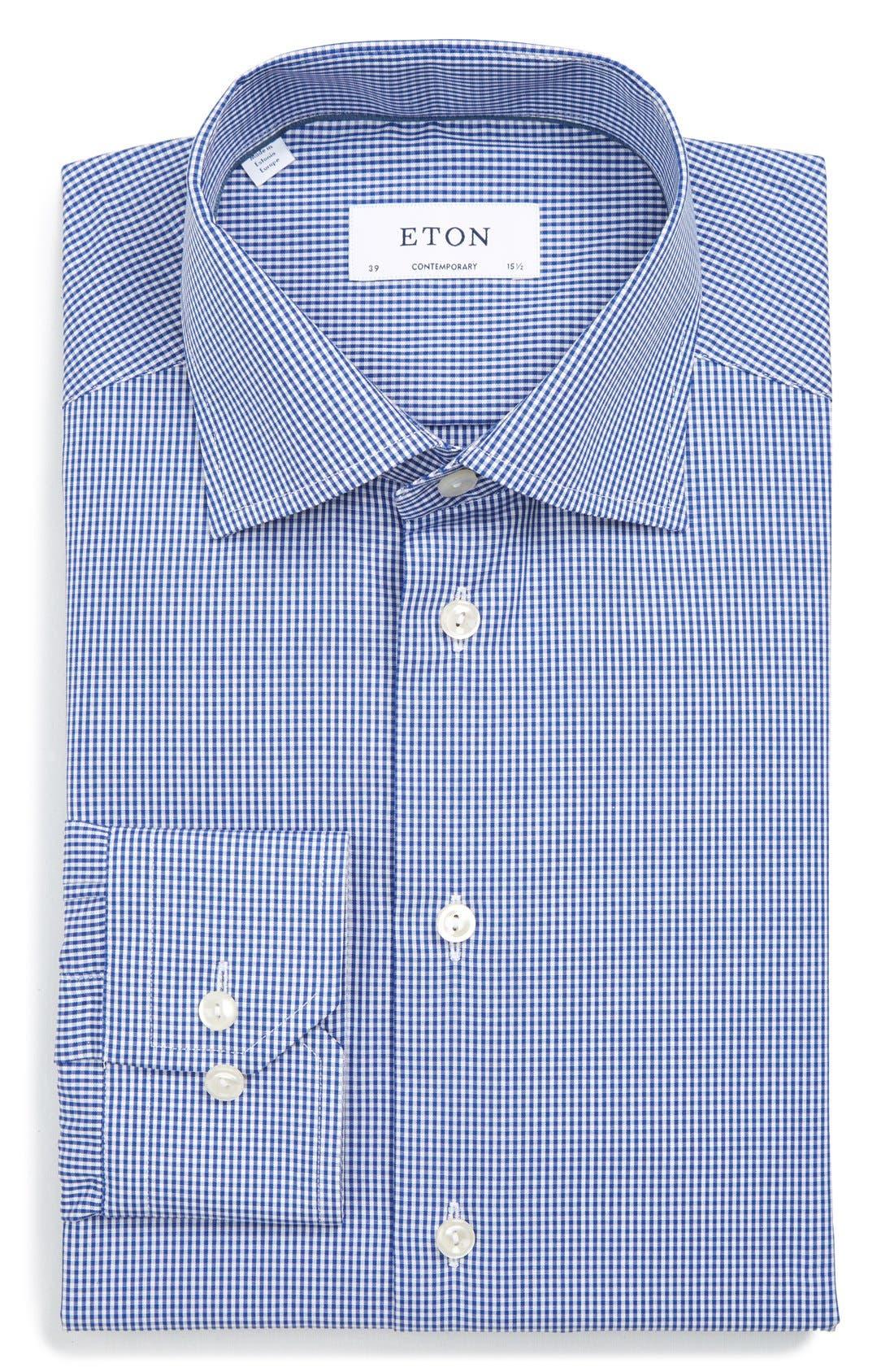ETON OF SWEDEN Of Sweden Mini Gingham Check Regular Fit Dress Shirt in Mid Blue