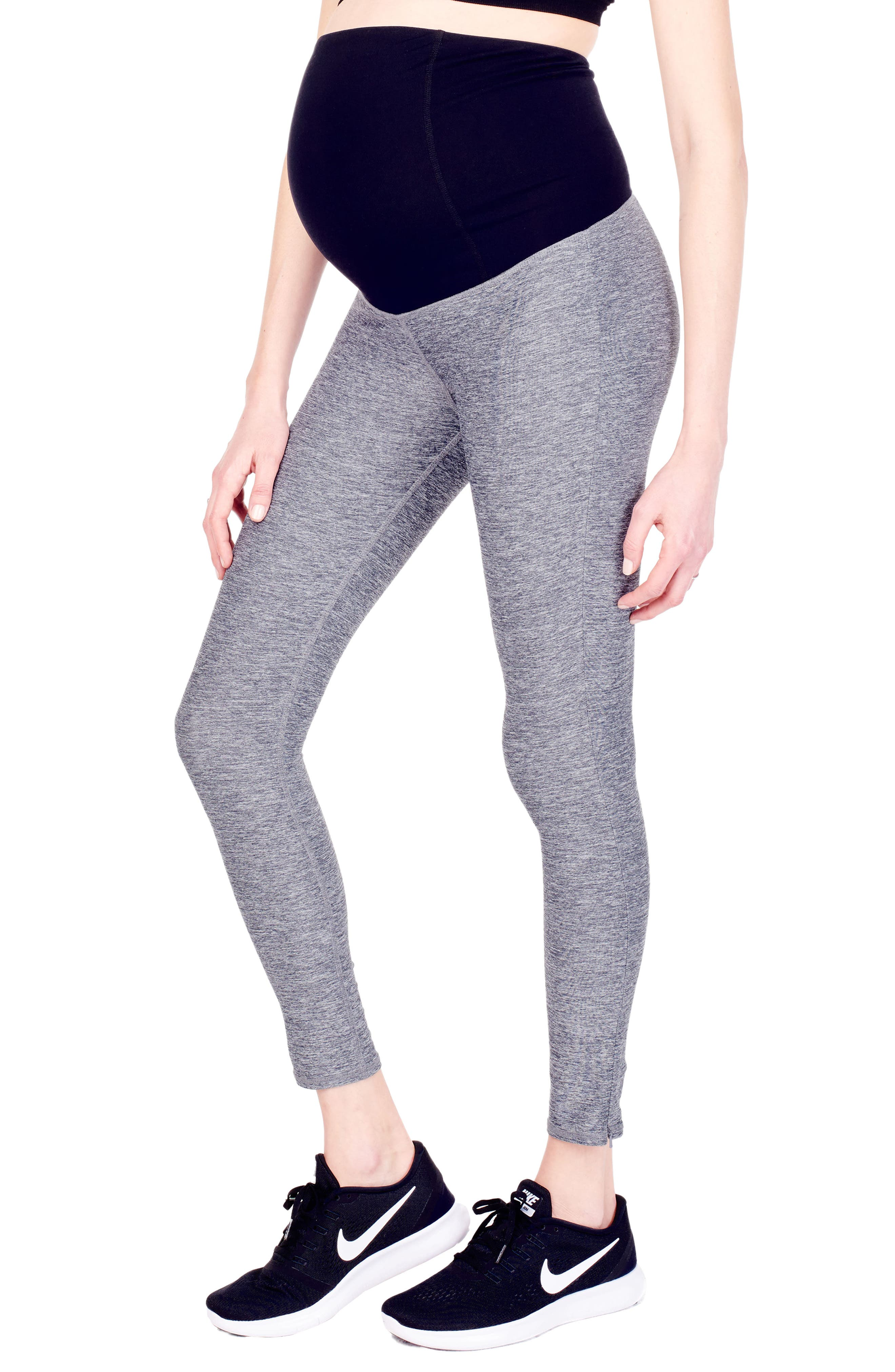 'Active' Maternity Leggings with Crossover Panel,                             Alternate thumbnail 9, color,