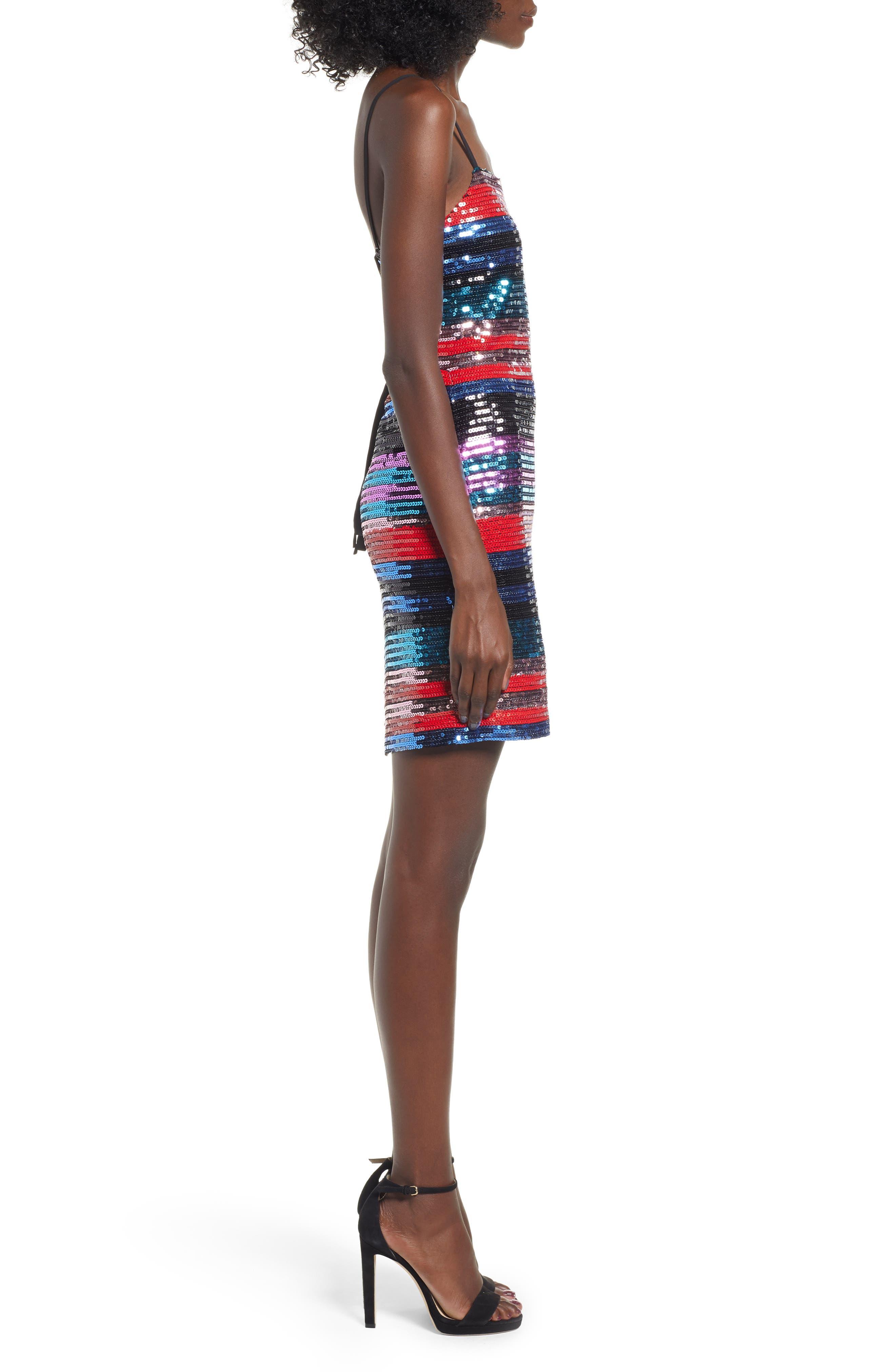 Manfi Lace-Up Back Sequin Stripe Minidress,                             Alternate thumbnail 3, color,                             RED SEQUIN STRIPE