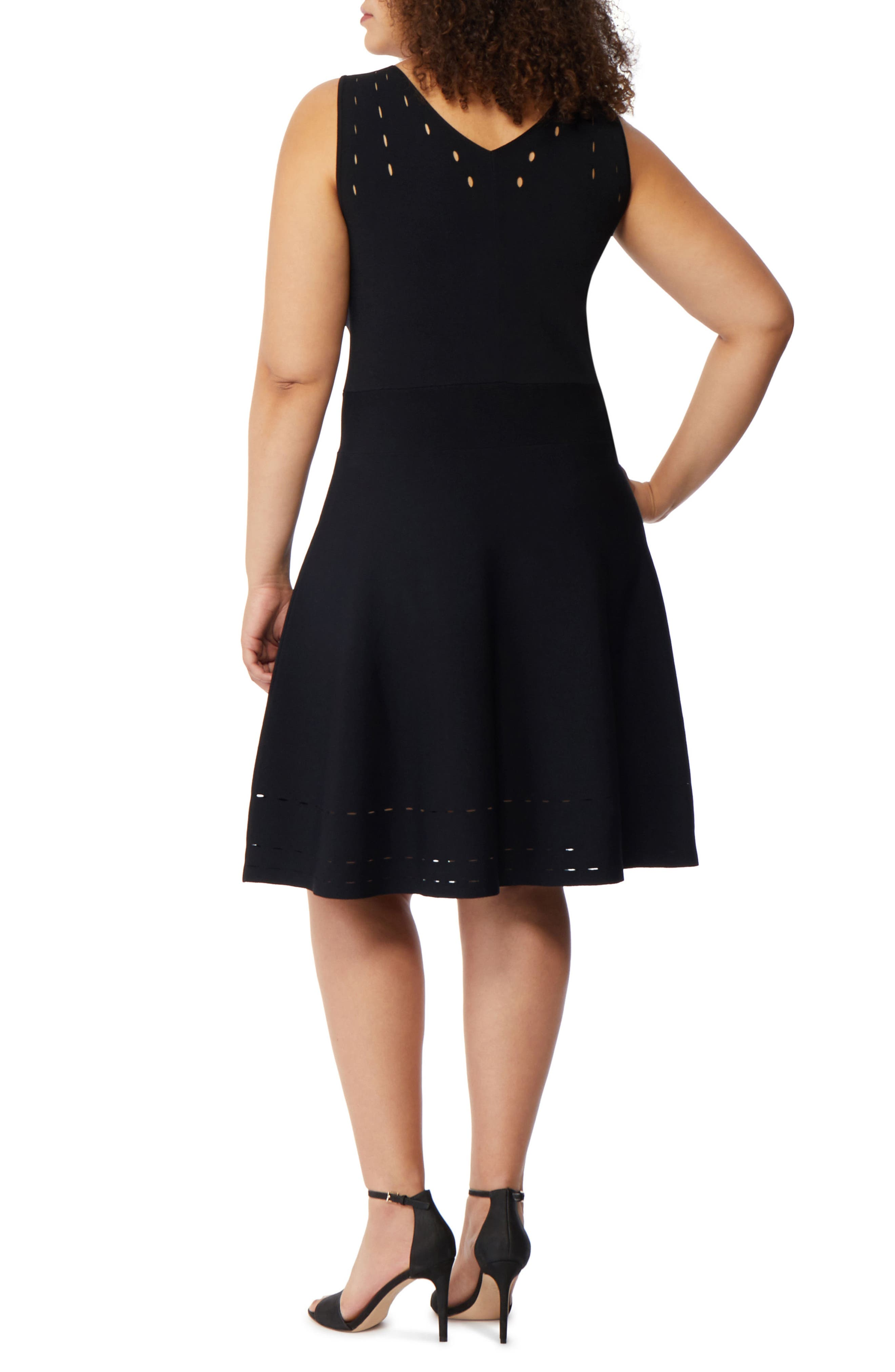 Pointelle Detail Fit & Flare Dress,                             Alternate thumbnail 2, color,                             001