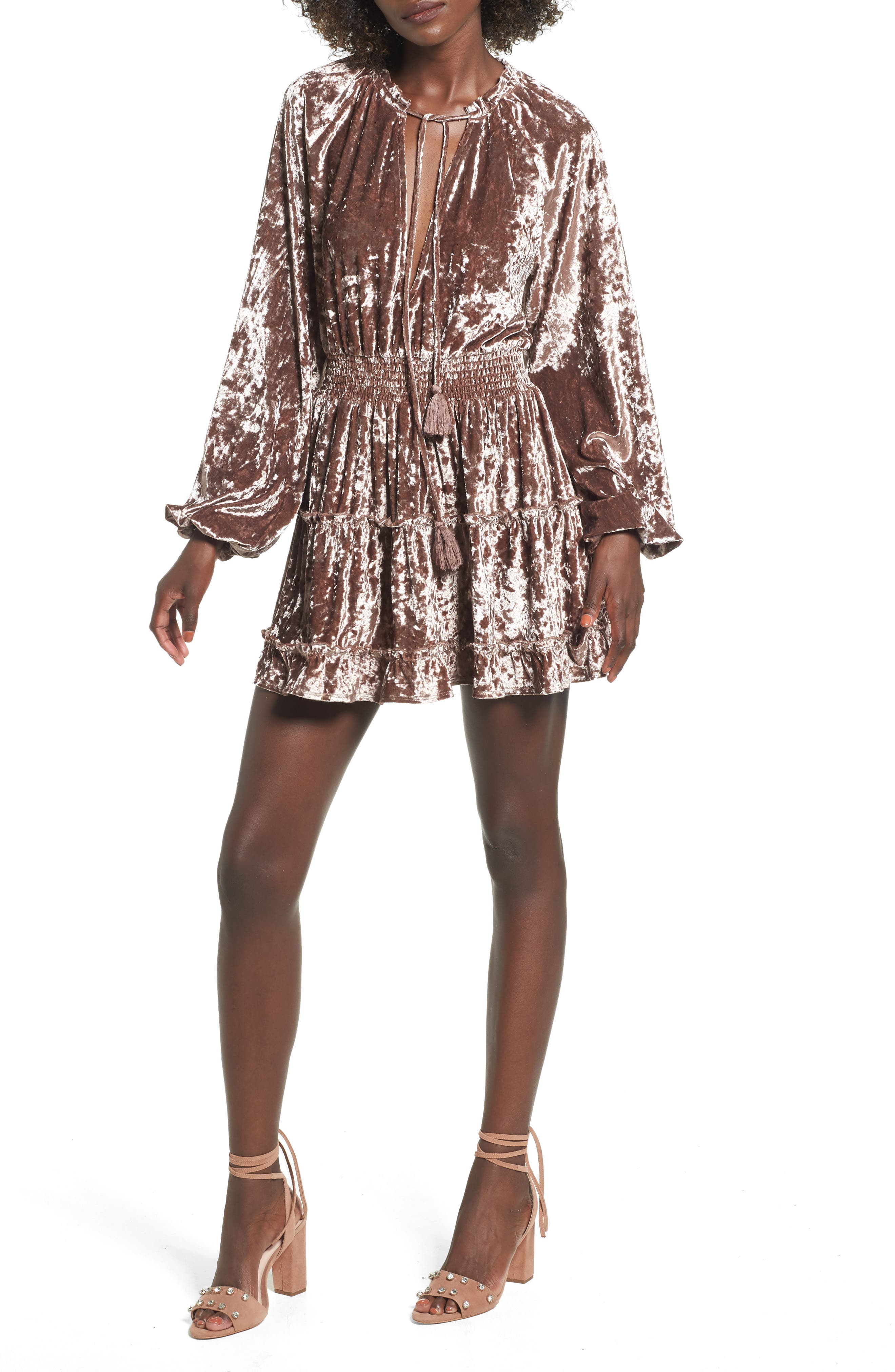 Delaney Crushed Velvet Minidress,                             Main thumbnail 1, color,
