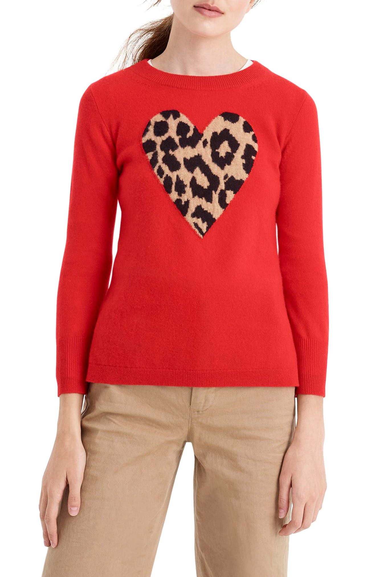 Leopard Heart Everyday Cashmere Sweater,                             Main thumbnail 1, color,                             600