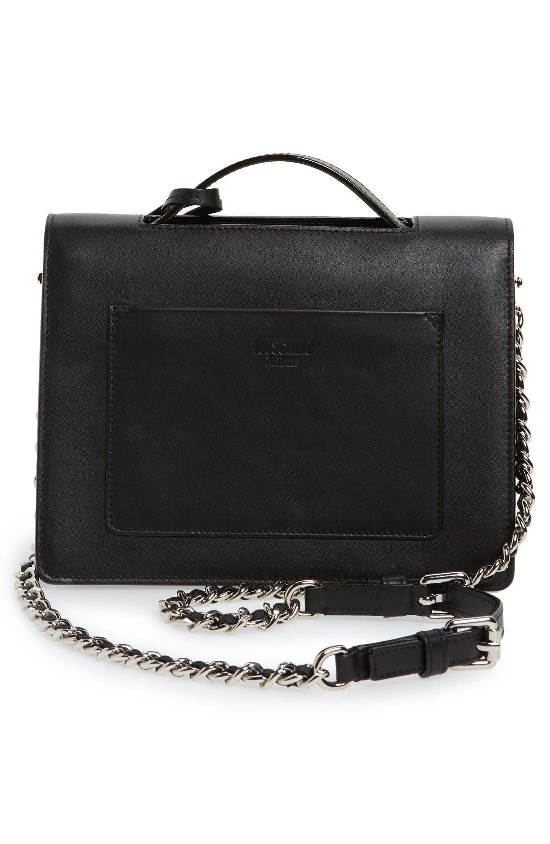 Top Handle Leather Crossbody Bag,                             Alternate thumbnail 2, color,                             001