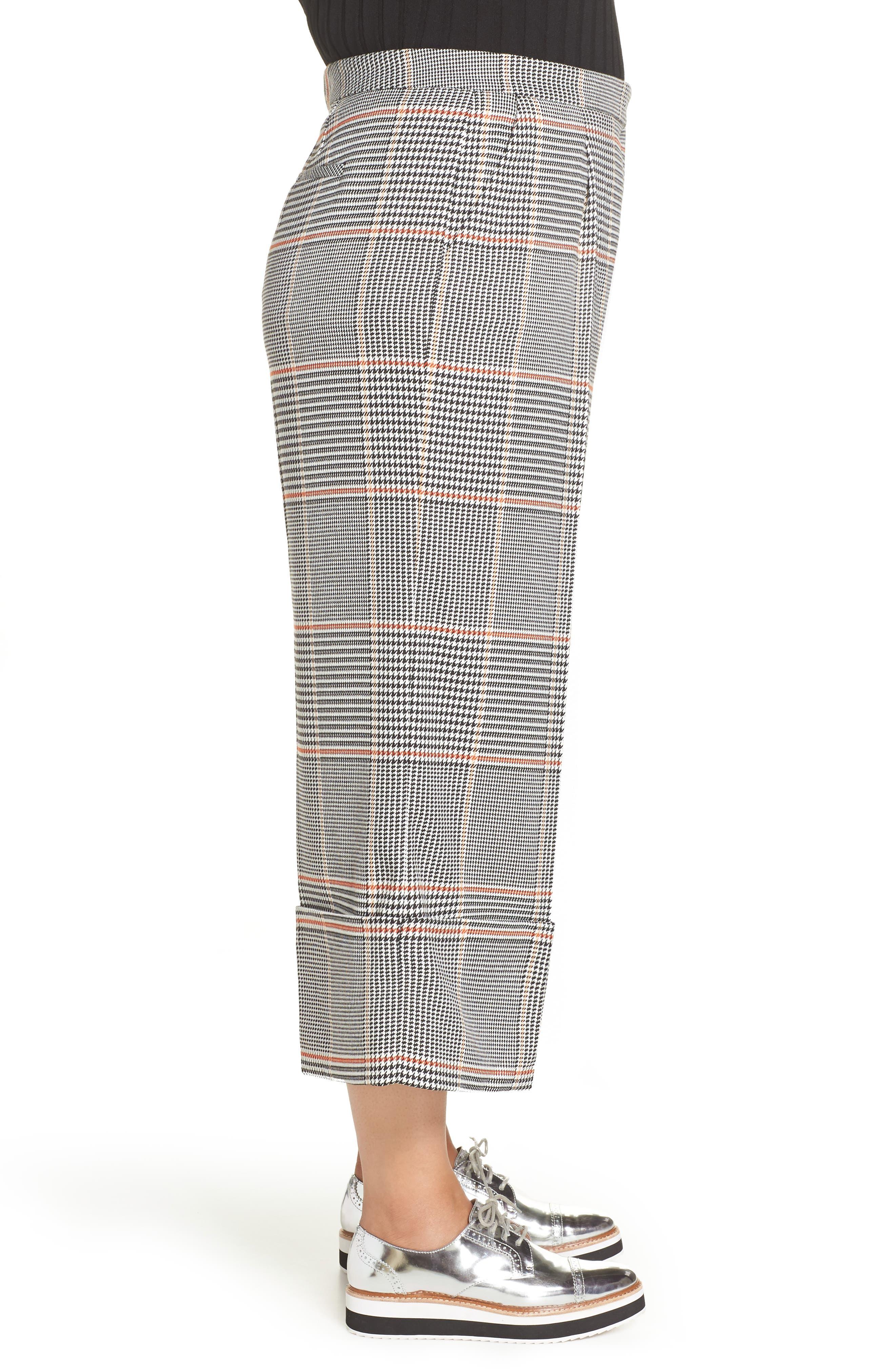 x Atlantic-Pacific Plaid Wide Leg Crop Pants,                             Alternate thumbnail 3, color,                             BLACK PLAID
