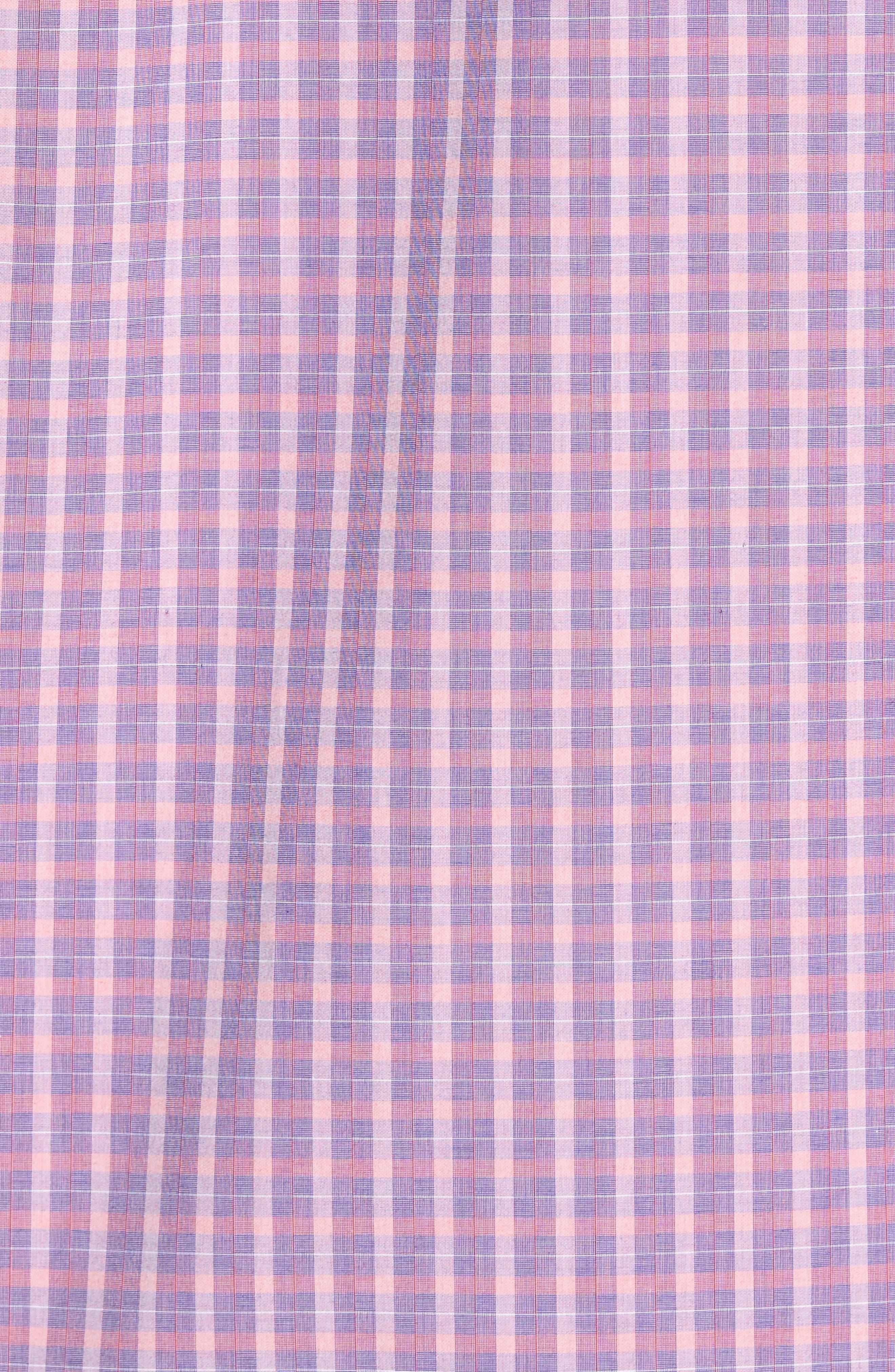 Trim Fit Plaid Sport Shirt,                             Alternate thumbnail 5, color,