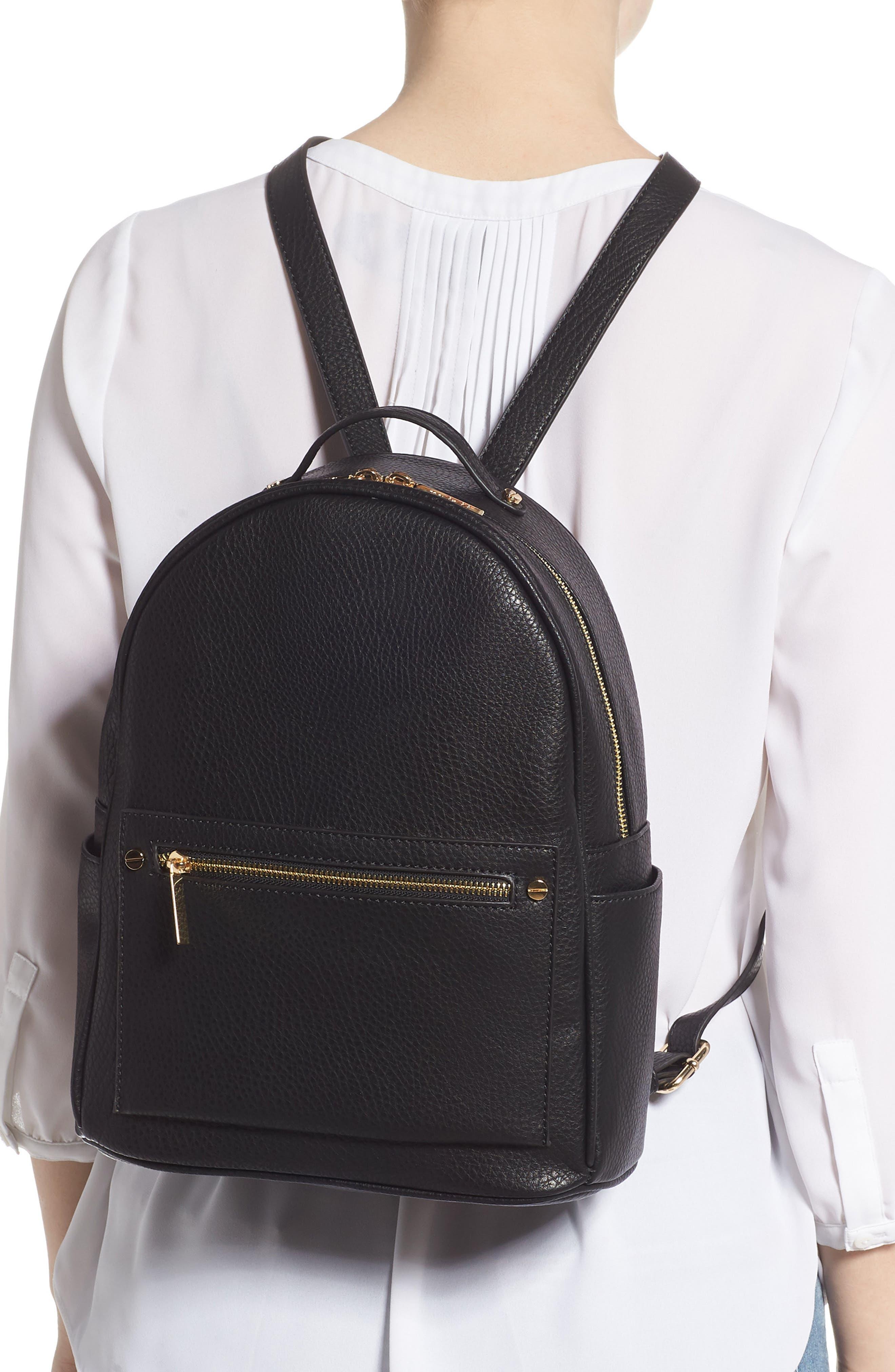 MALI + LILI,                             Addie Vegan Leather Backpack,                             Alternate thumbnail 2, color,                             BLACK