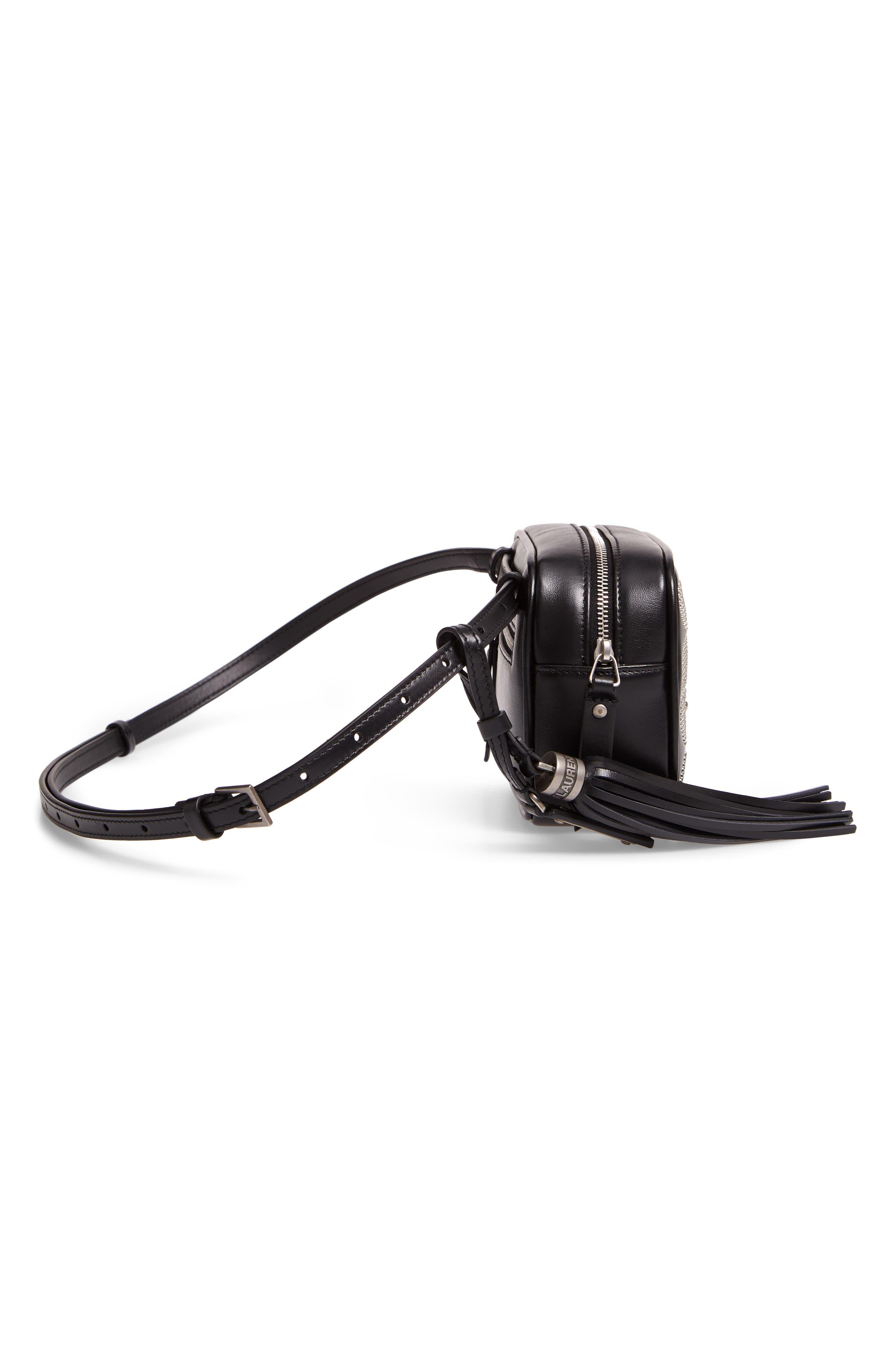 Micro Lou Stud Hearts Calfskin Leather Belt Bag,                             Alternate thumbnail 6, color,                             NOIR
