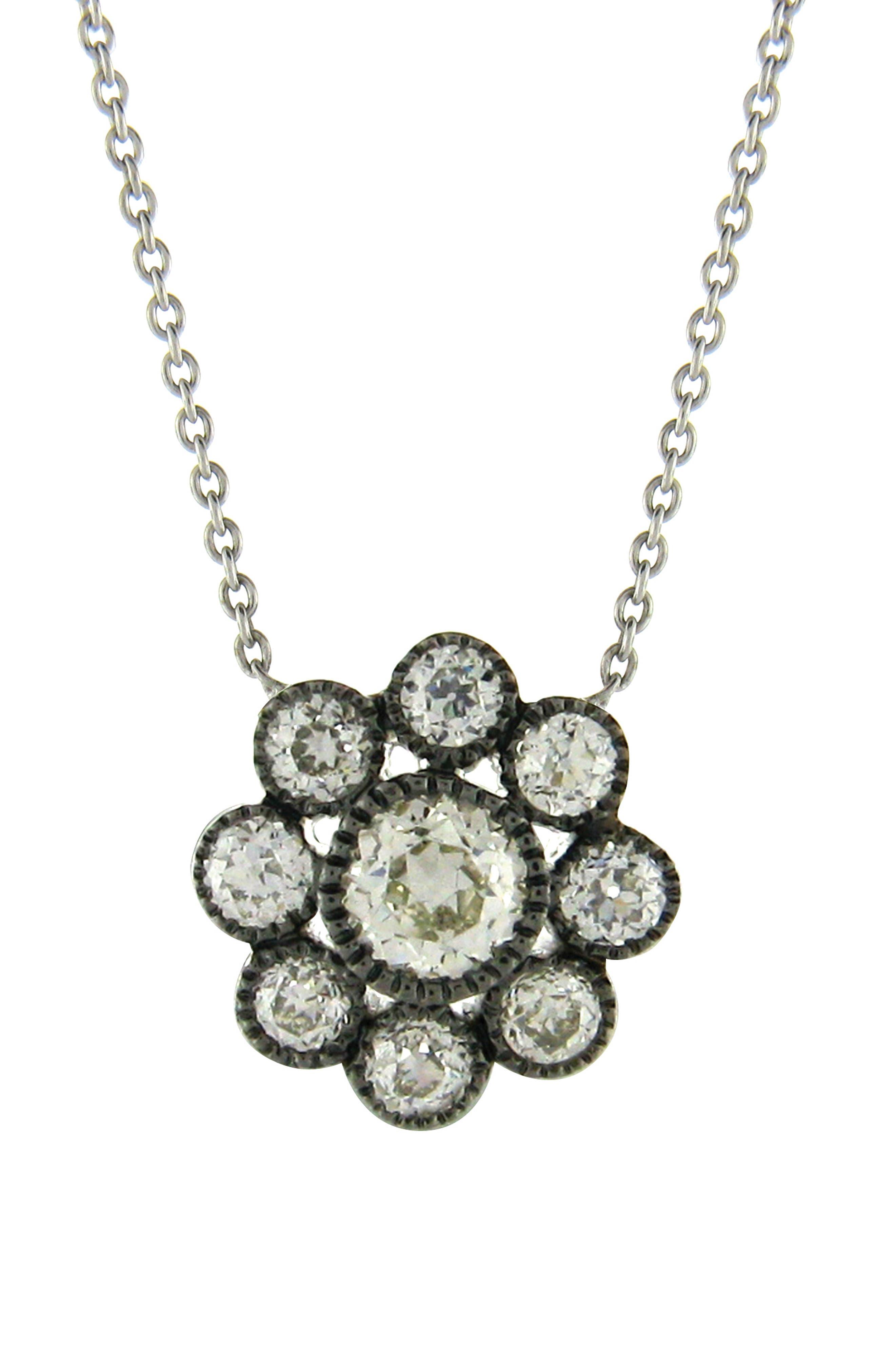 Old Mine Diamond Cluster Pendant Necklace in Black