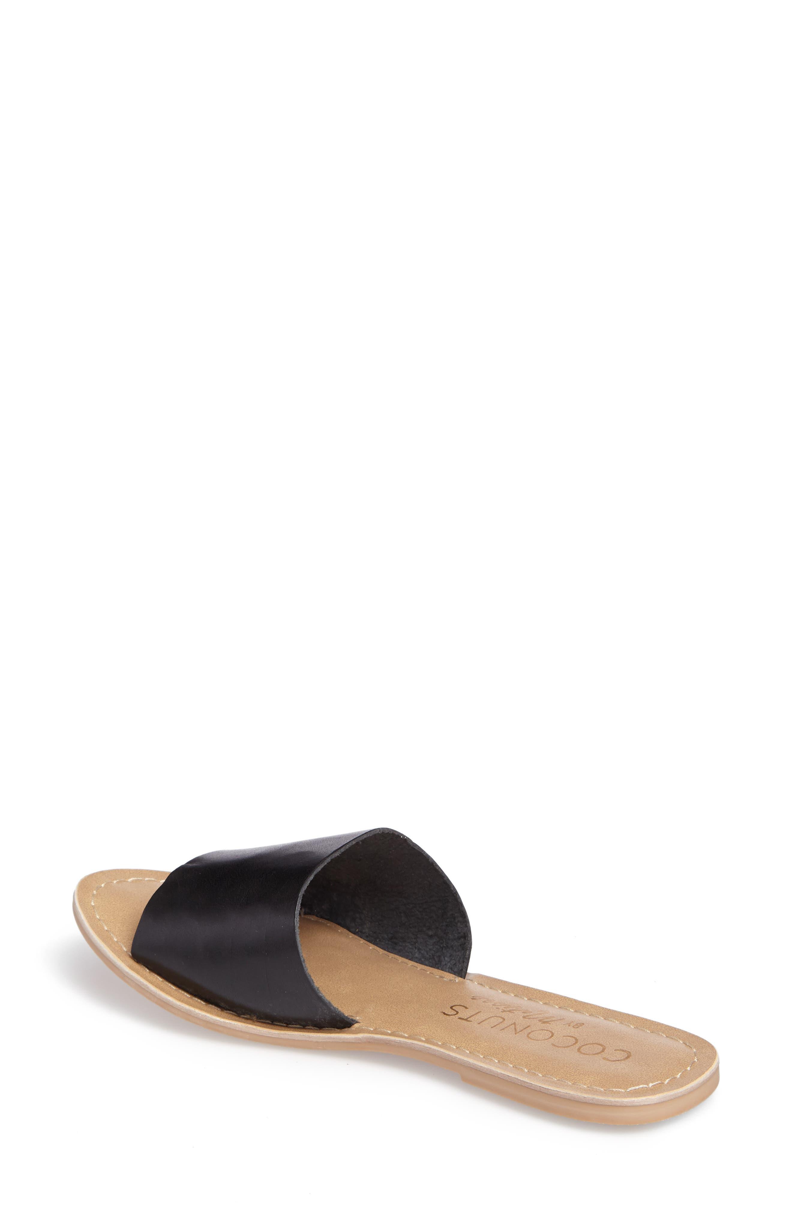 Cabana Slide Sandal,                             Alternate thumbnail 2, color,                             BLACK LEATHER