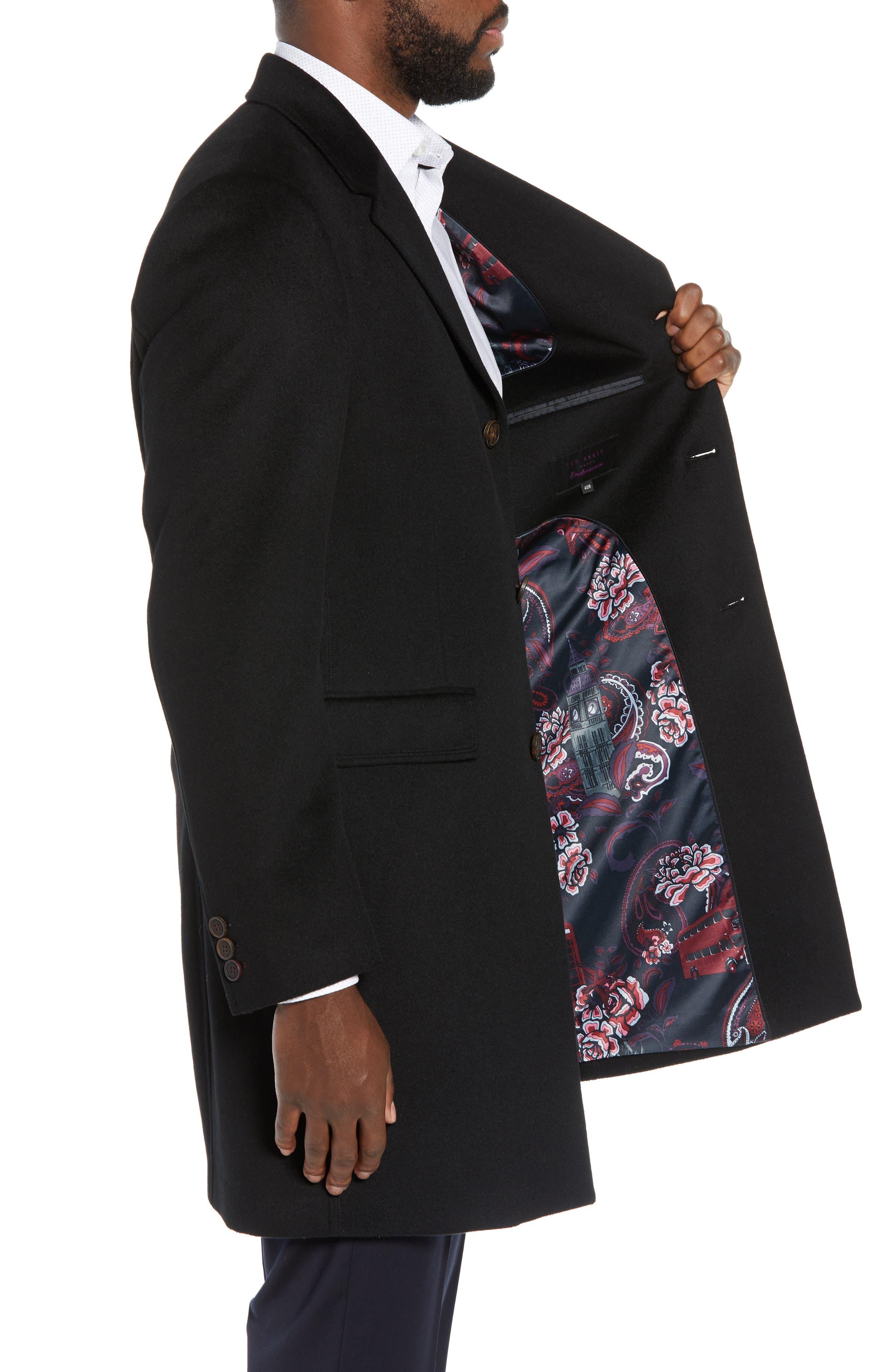 Swish Wool & Cashmere Overcoat,                             Alternate thumbnail 3, color,                             001