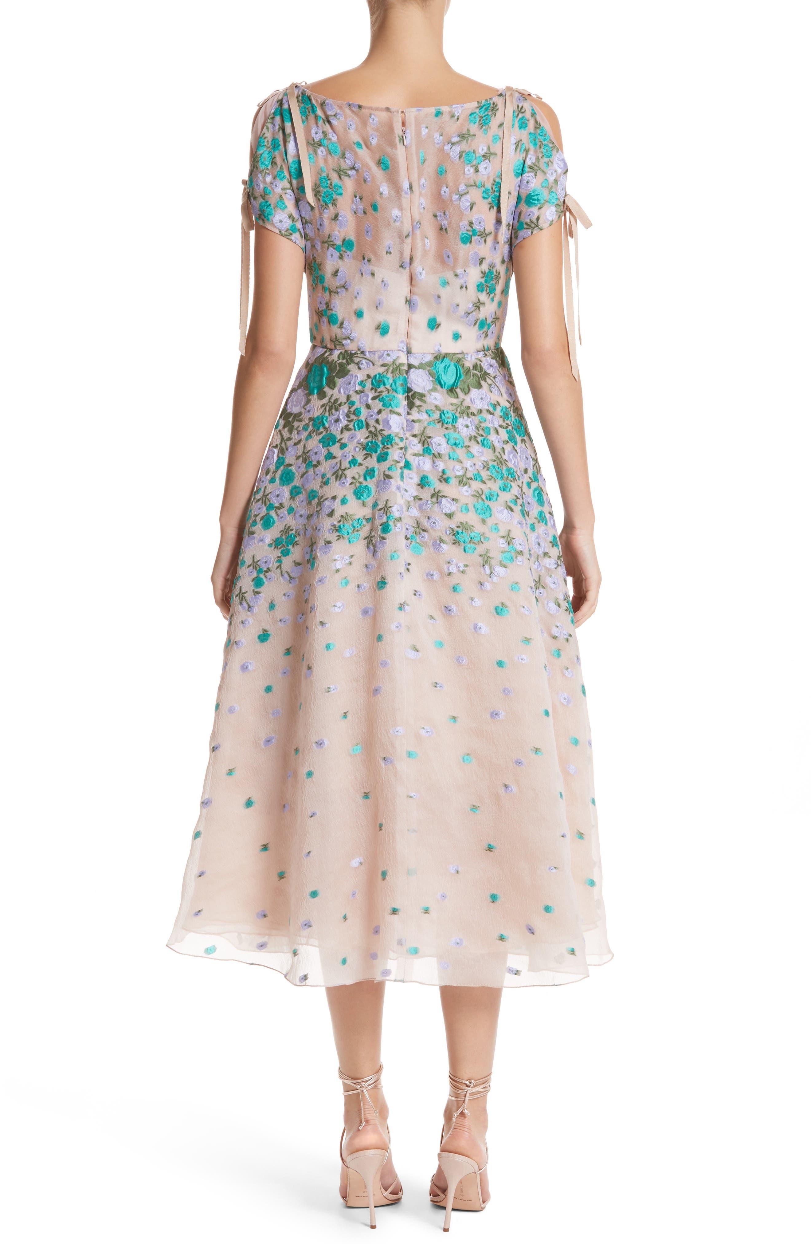 Floral Matelassé Cold Shoulder Dress,                             Alternate thumbnail 2, color,