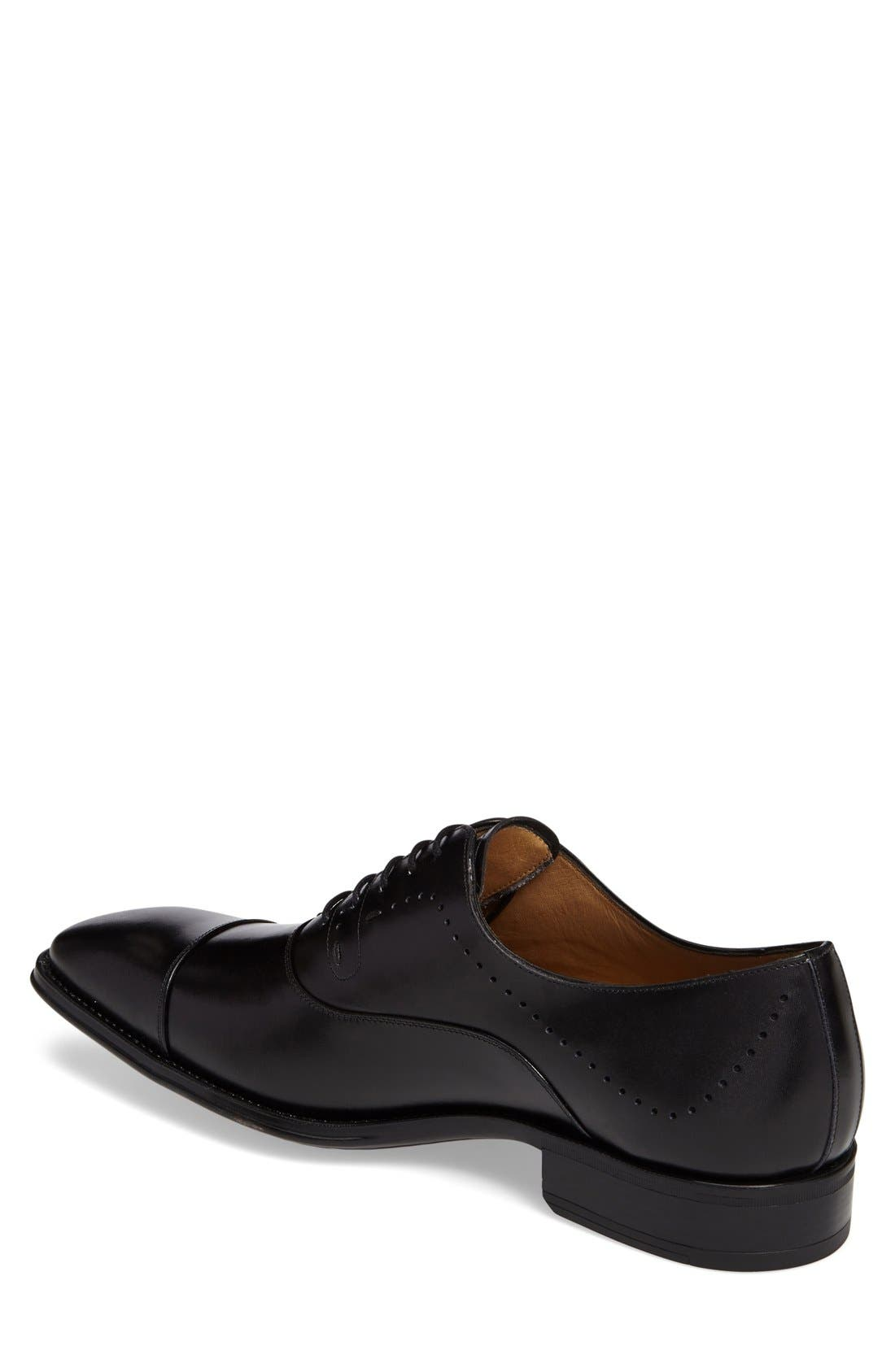 'Fermo' Cap Toe Perforated Oxford,                             Alternate thumbnail 2, color,                             001