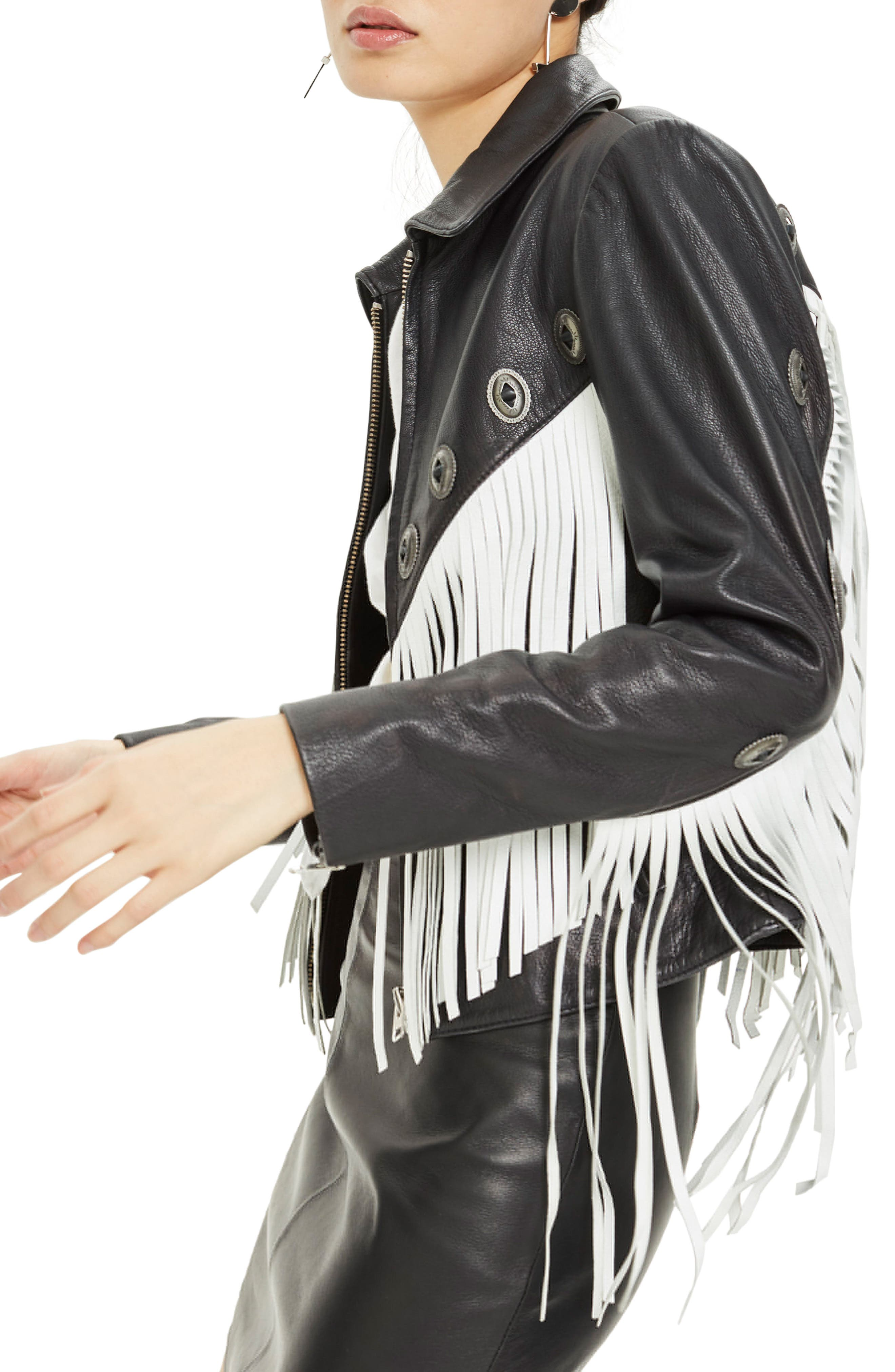 Austin Fringe Leather Biker Jacket,                             Alternate thumbnail 3, color,                             002