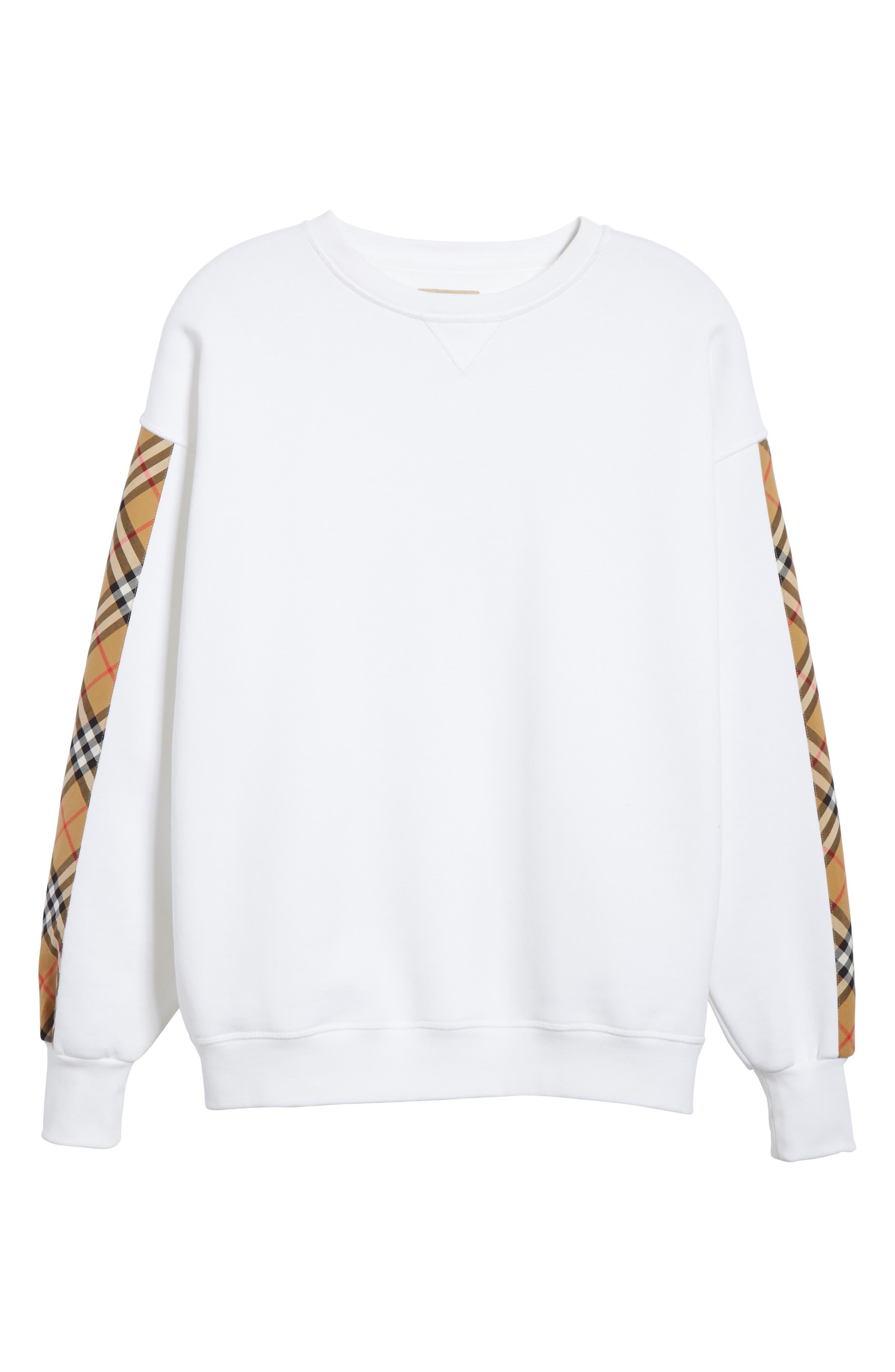 Bronx Check Sleeve Sweatshirt,                             Alternate thumbnail 6, color,                             WHITE