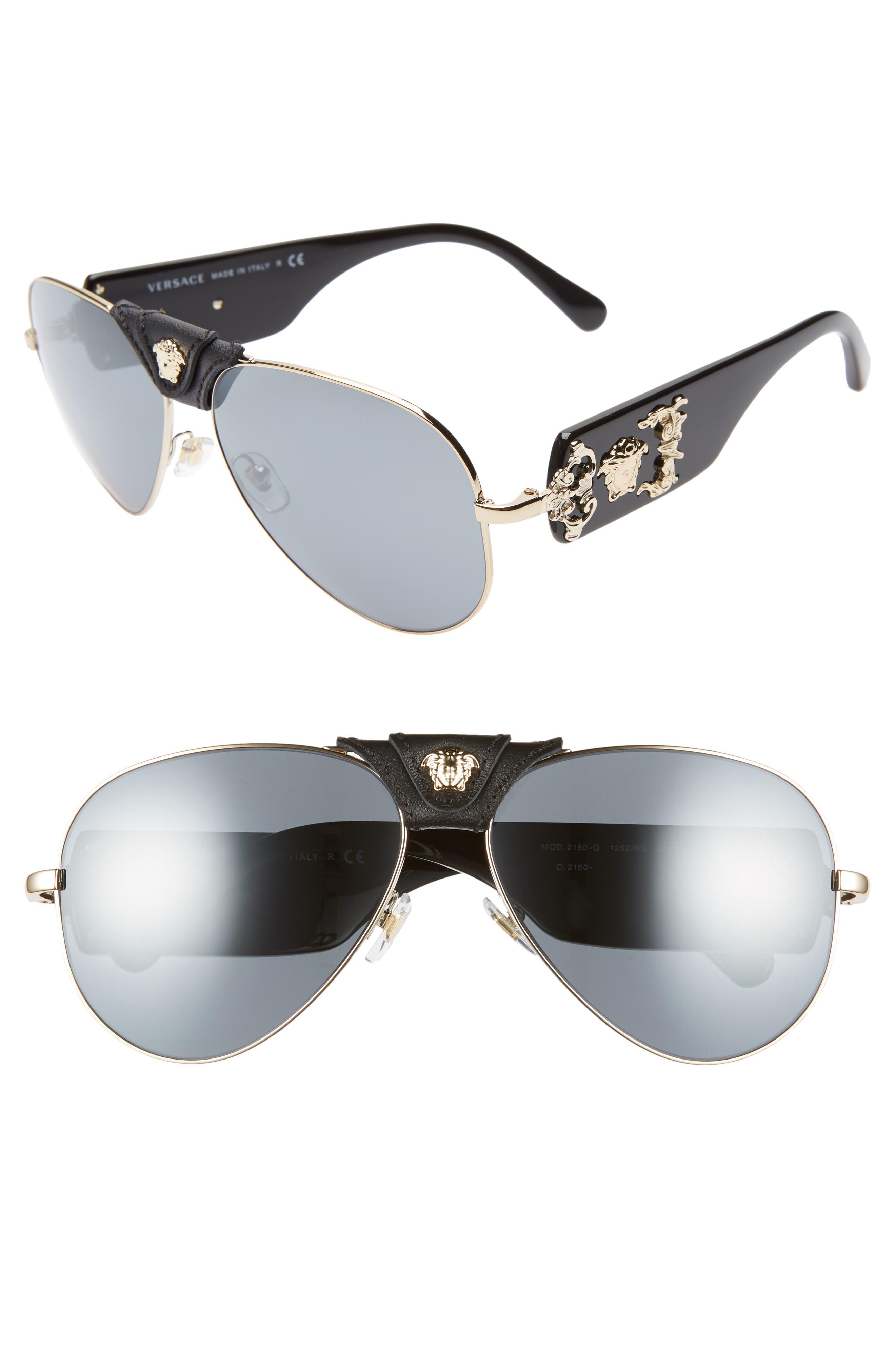 VERSACE 62mm Aviator Sunglasses, Main, color, GOLD/ BLACK