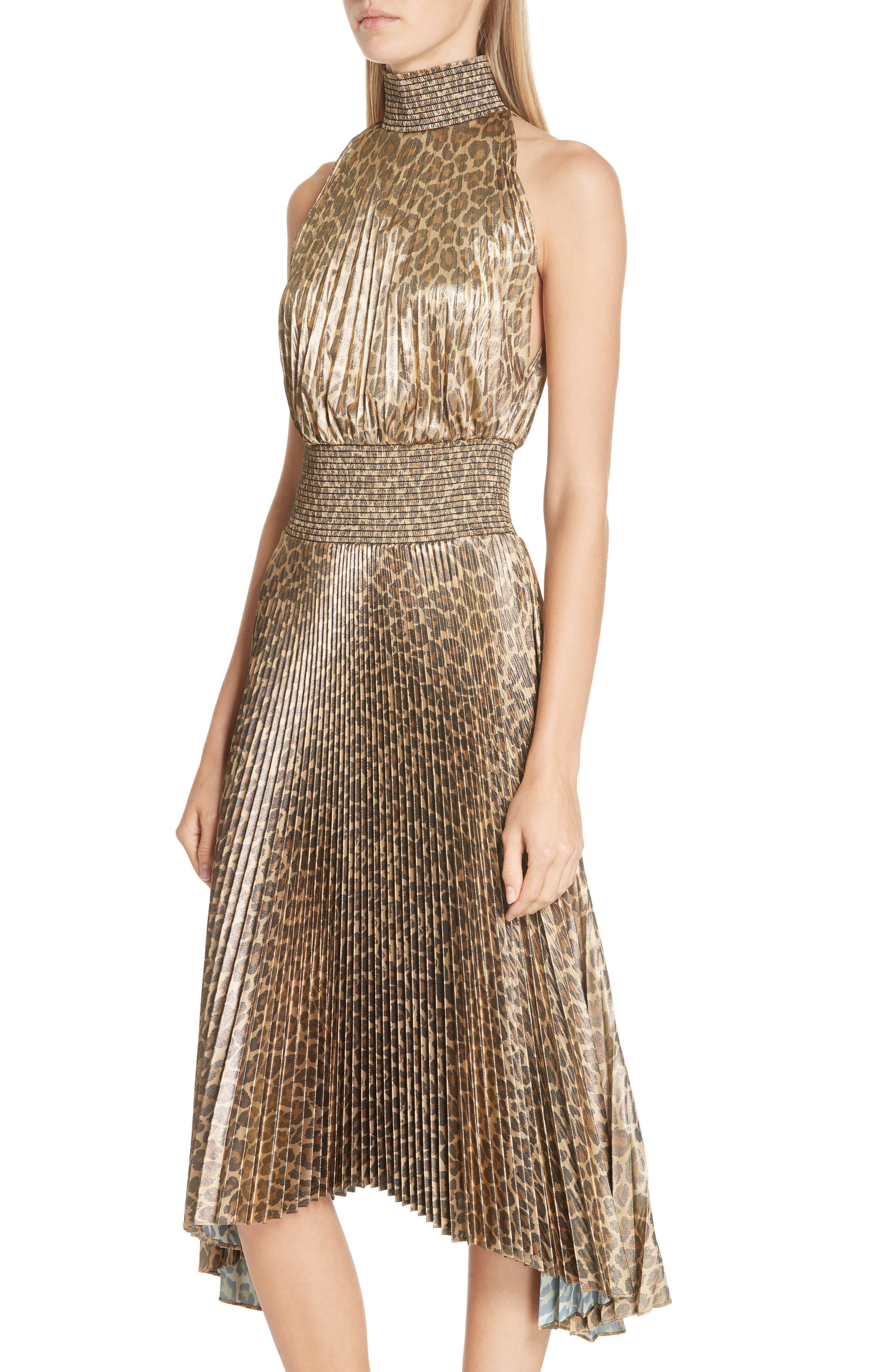 Renzo Leopard Print Metallic Foil Dress,                             Alternate thumbnail 4, color,                             METALLIC GOLD