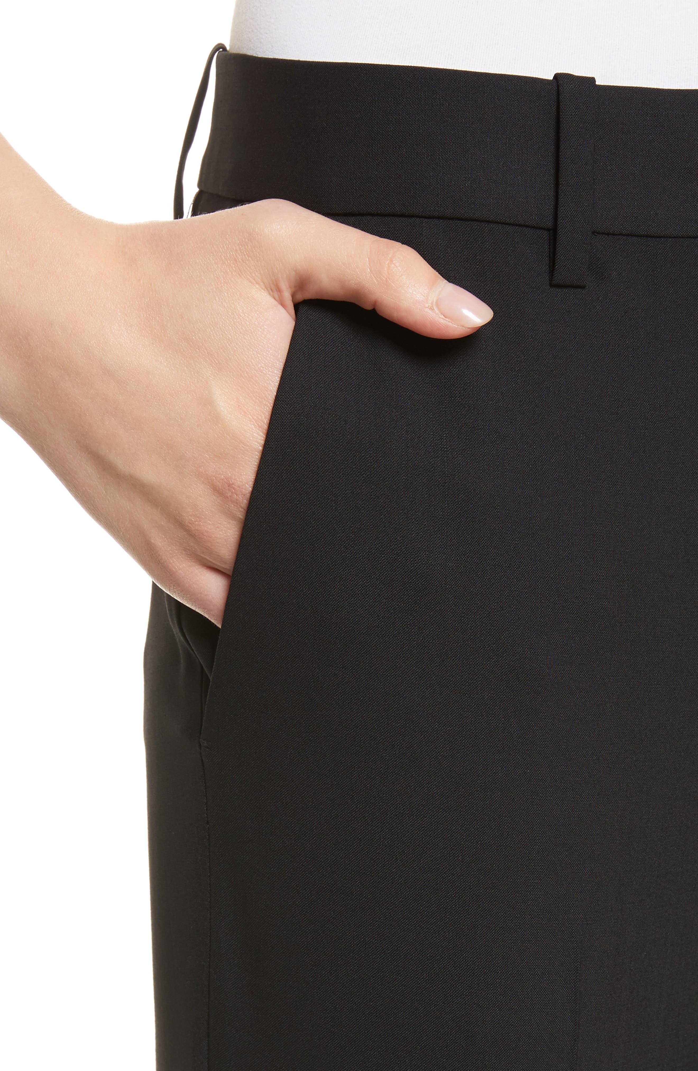 Treeca 2 Good Wool Crop Suit Pants,                             Alternate thumbnail 4, color,                             BLACK