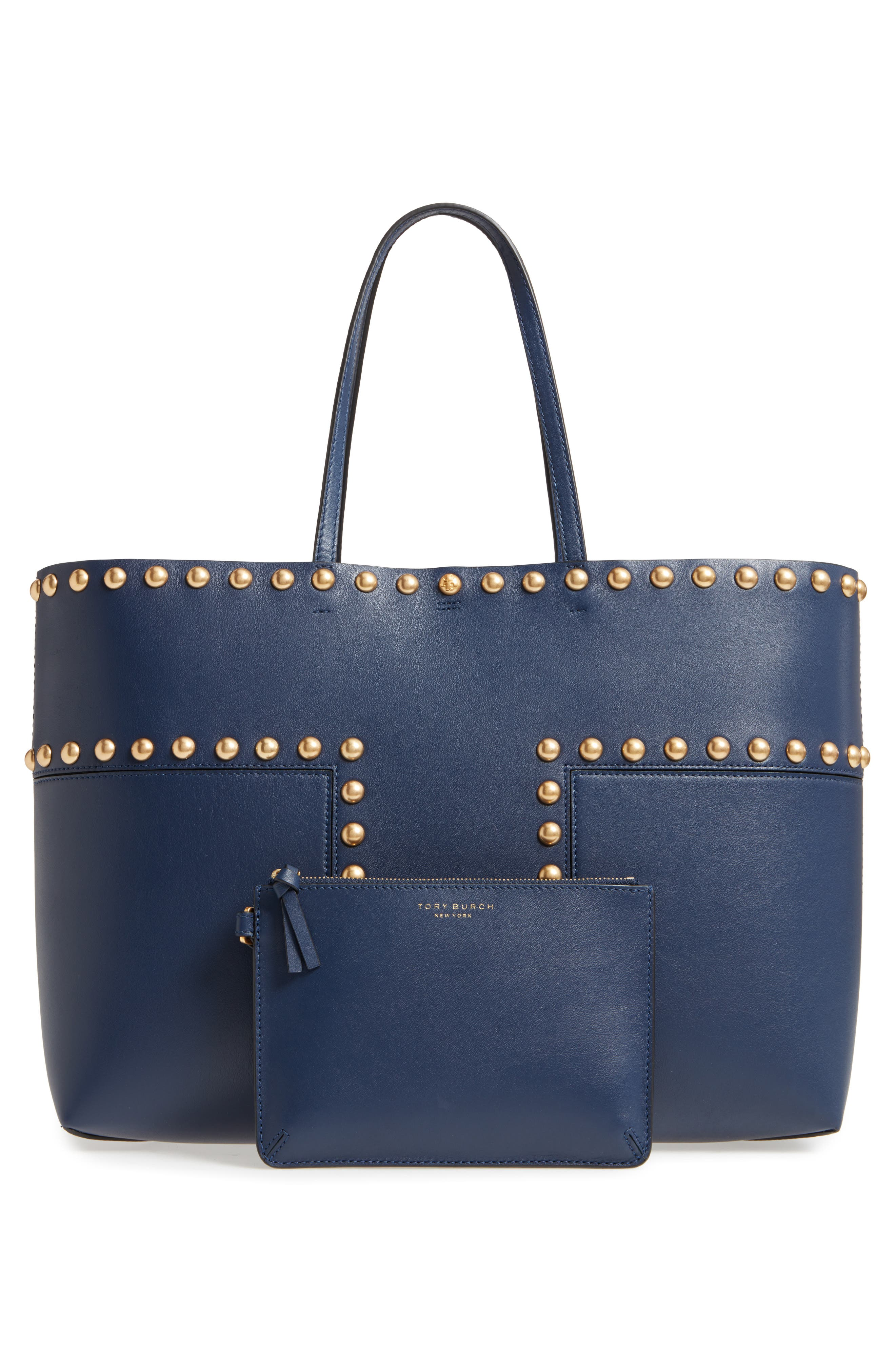 Block-T Studded Leather Tote,                             Alternate thumbnail 6, color,