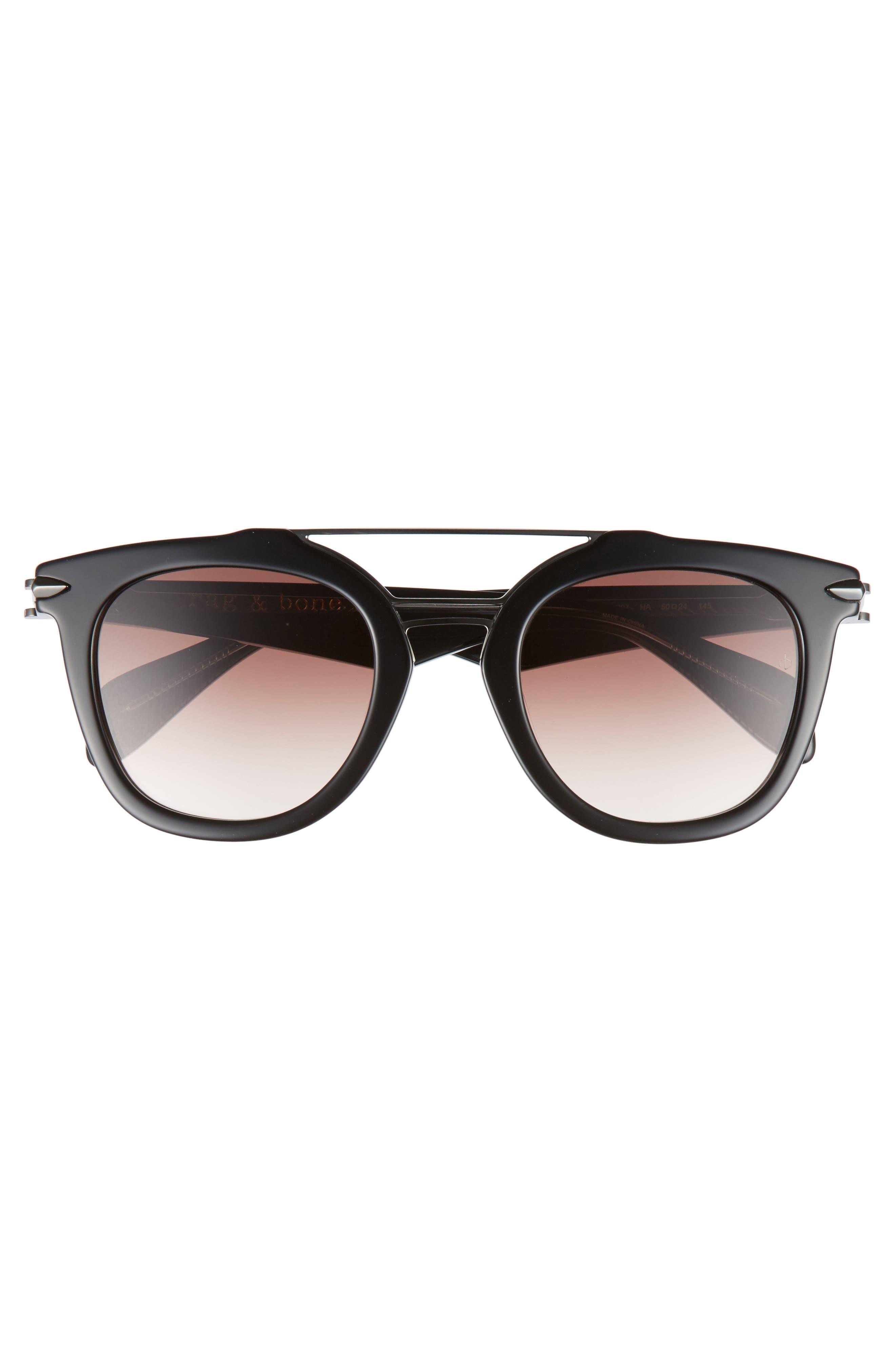 50mm Round Aviator Sunglasses,                             Alternate thumbnail 3, color,                             BLACK