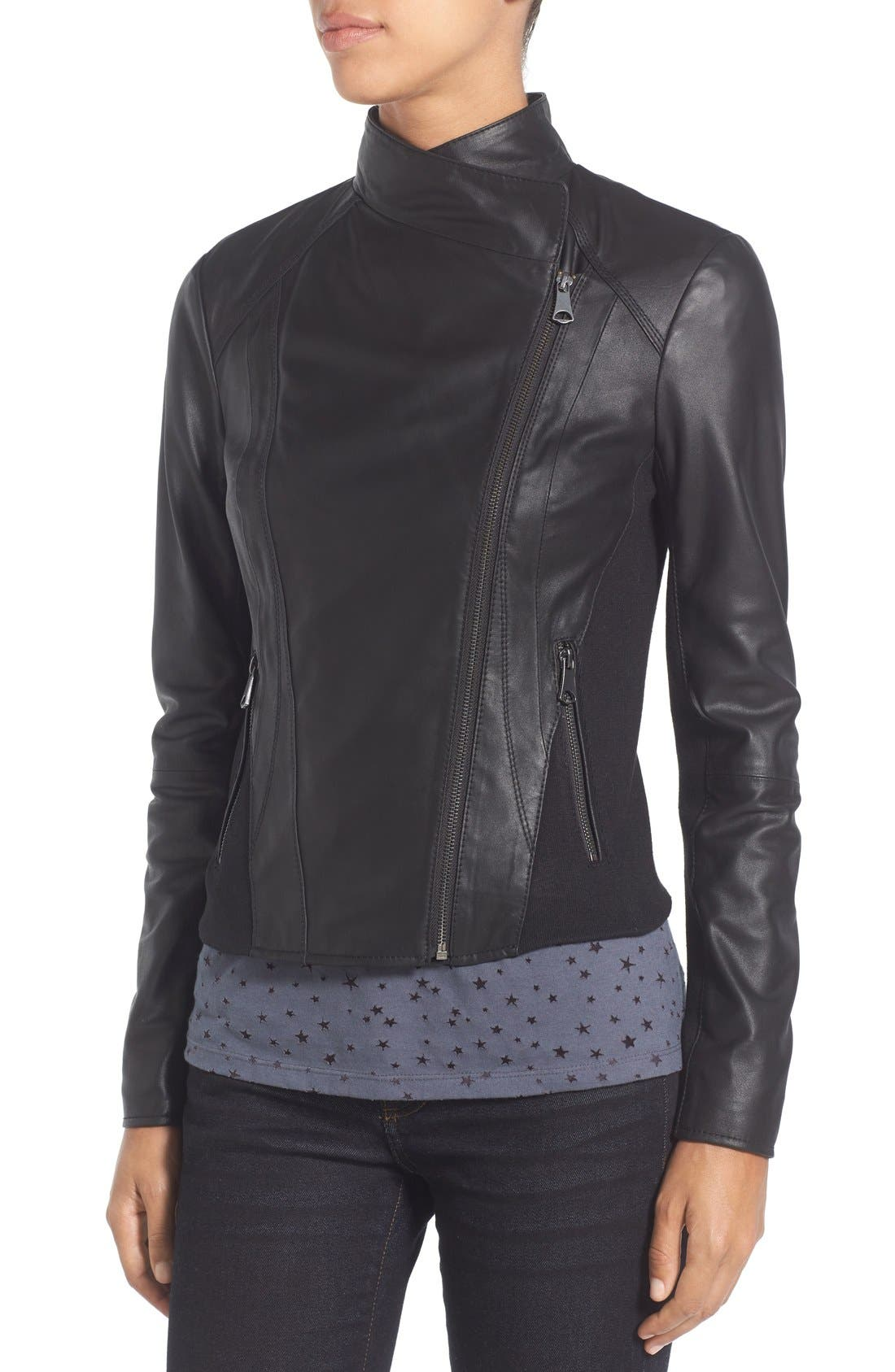 Marc New York by Andrew Marc Felix Stand Collar Leather Jacket,                             Alternate thumbnail 11, color,                             001