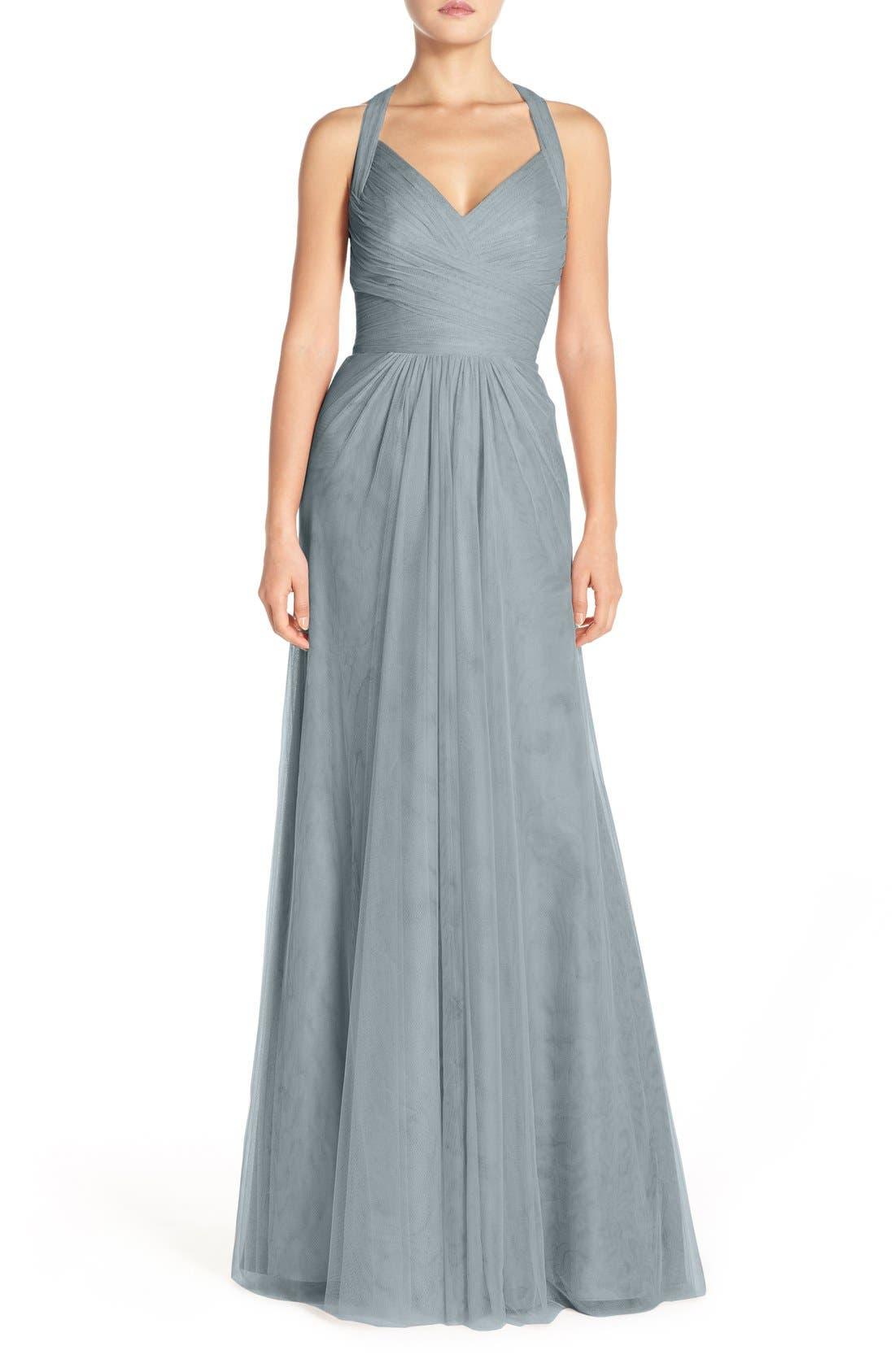 Sleeveless V-Neck Tulle Gown,                             Main thumbnail 3, color,