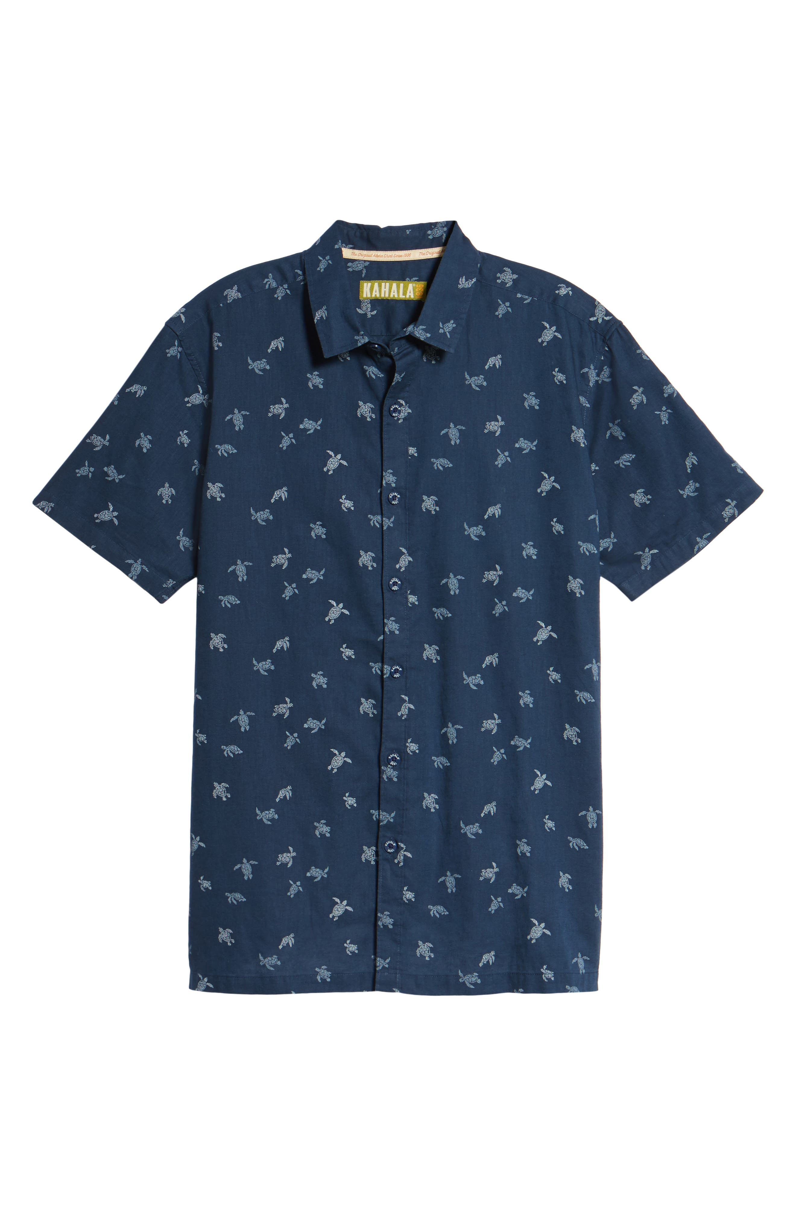 Honu La Hanai Trim Fit Print Sport Shirt,                             Alternate thumbnail 6, color,