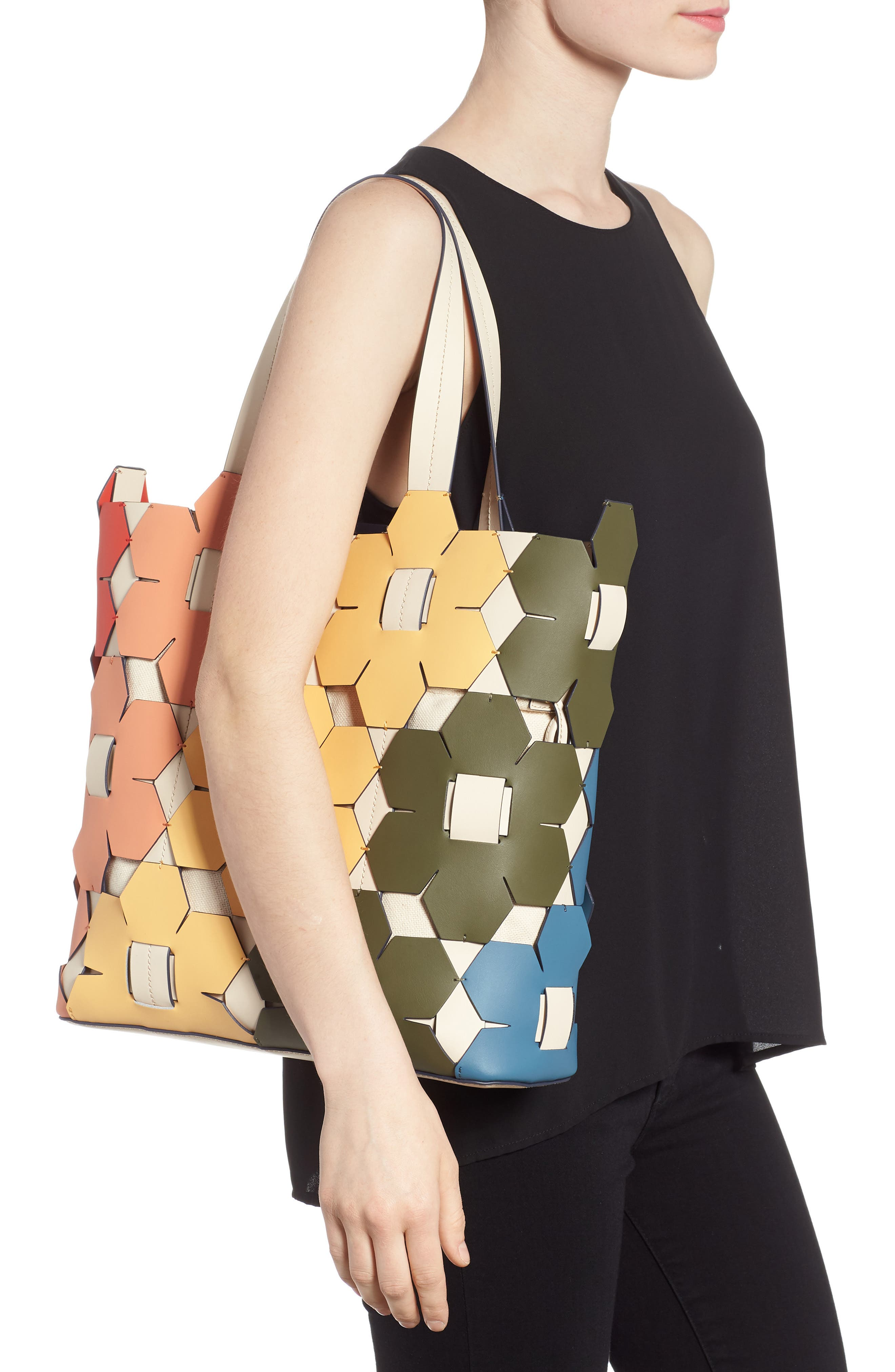 ZAC Zac Earth Hex Floral Leather Tote,                             Alternate thumbnail 2, color,                             600
