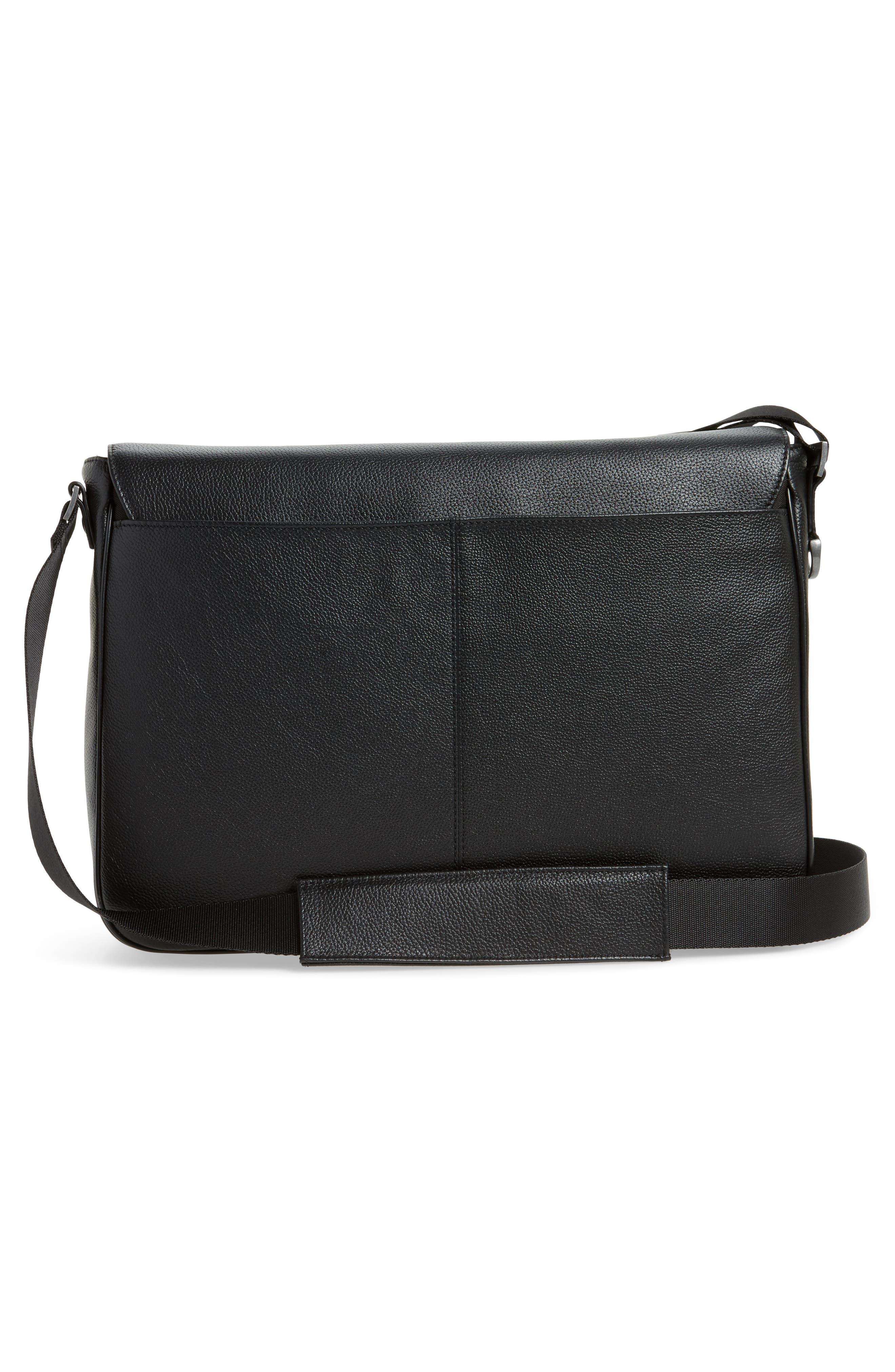 Midland Leather Messenger Bag,                             Alternate thumbnail 3, color,                             001