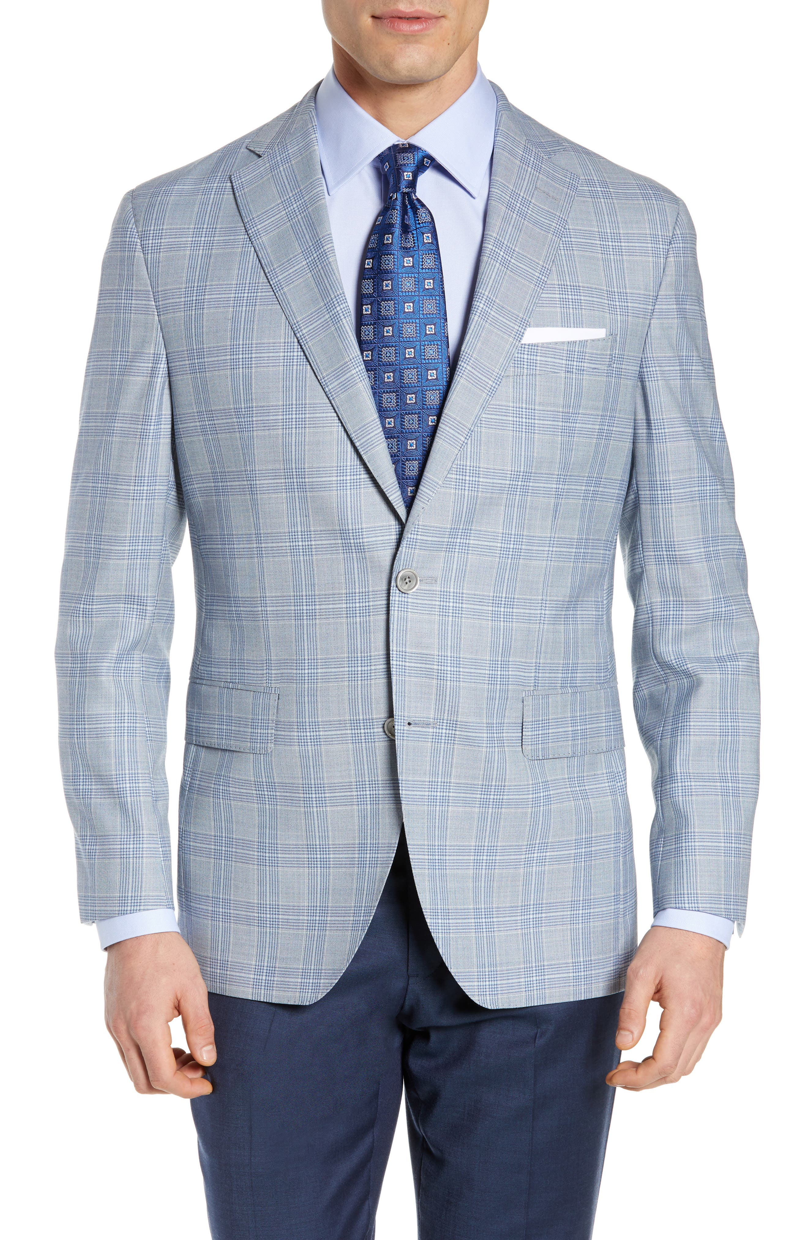 Arnold Classic Fit Plaid Wool Sport Coat, Main, color, BLUE
