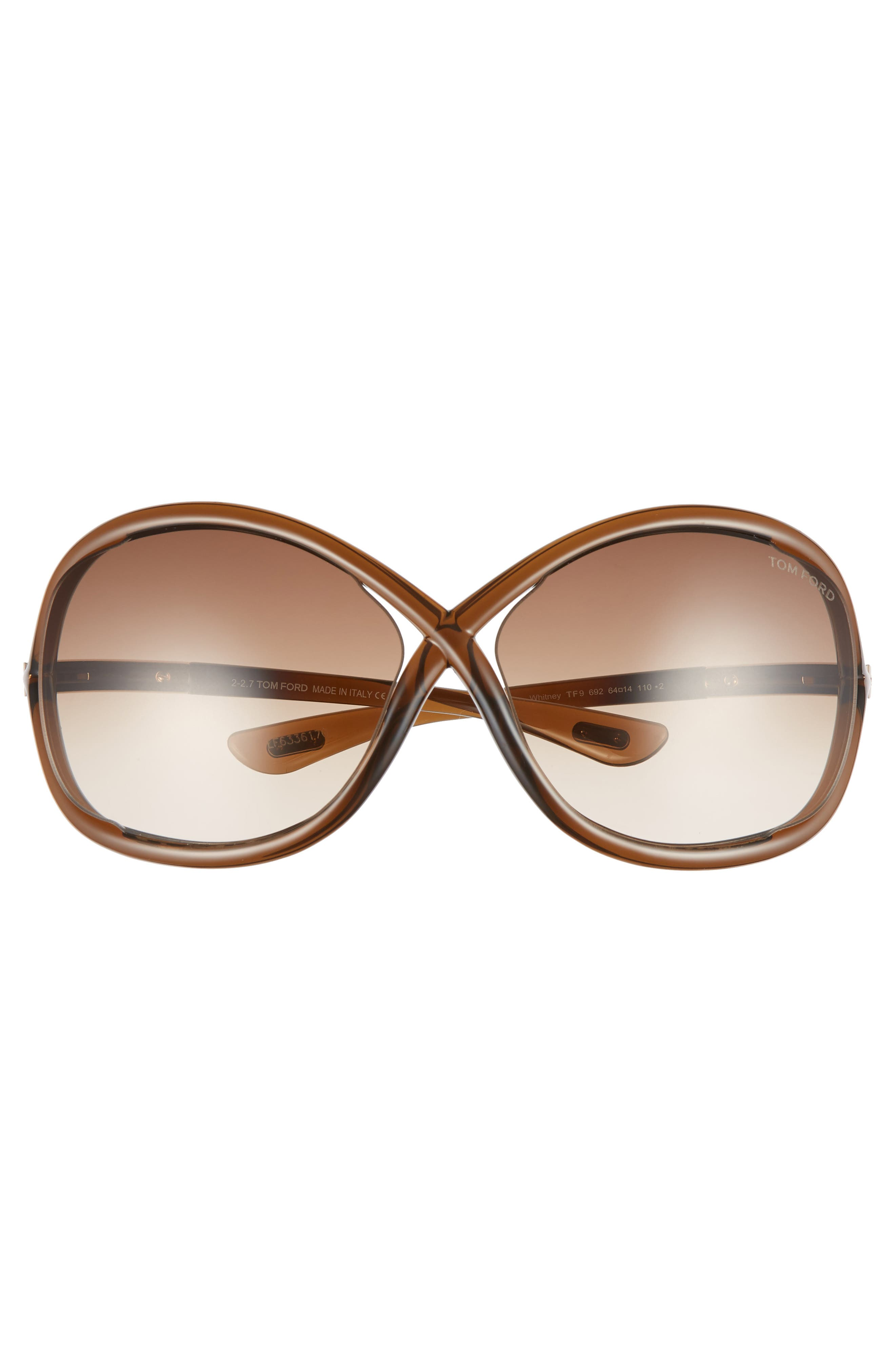'Whitney' 64mm Open Side Sunglasses,                             Alternate thumbnail 3, color,                             DARK BROWN