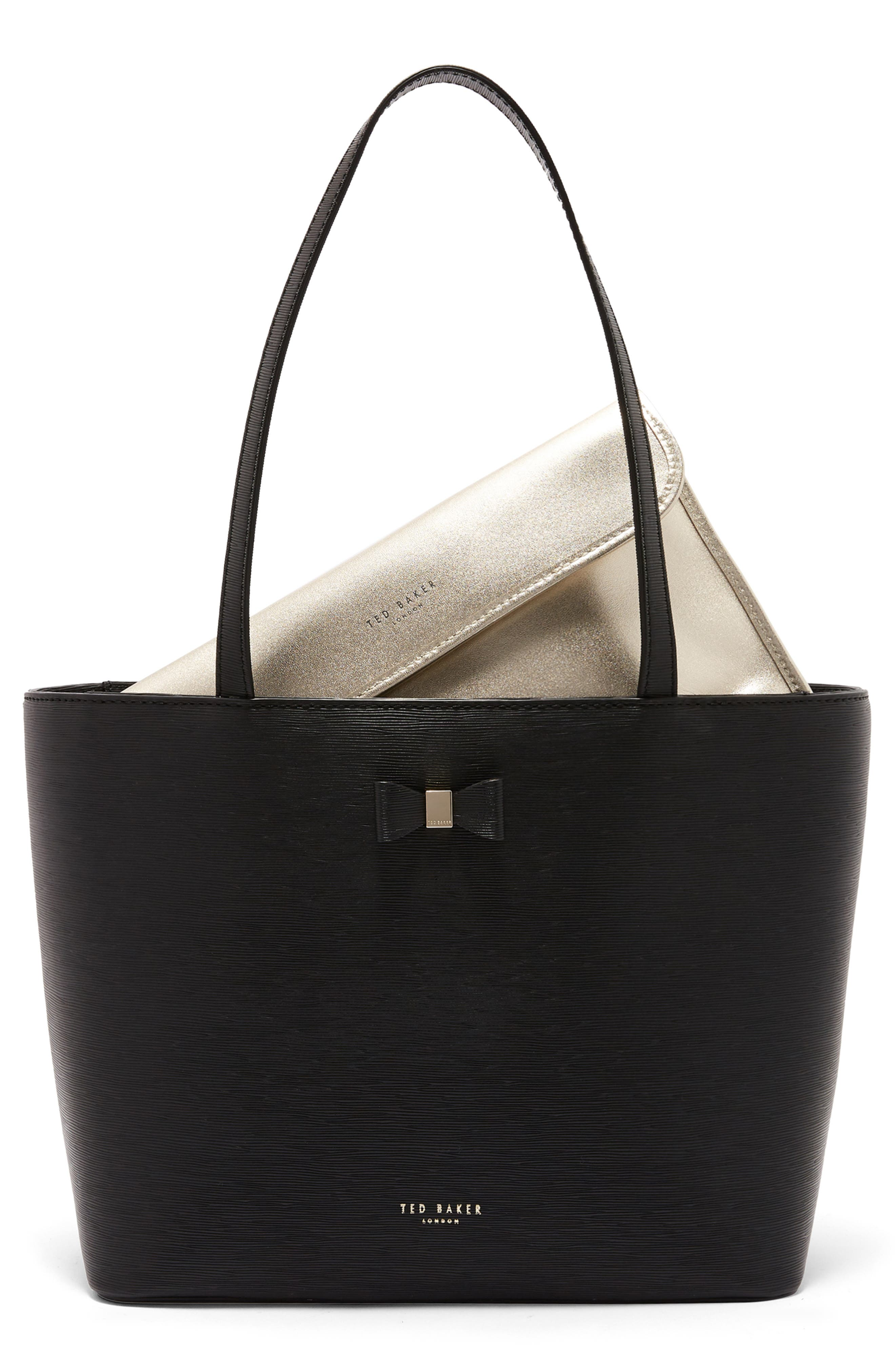 Bow Detail Leather Shopper,                         Main,                         color, BLACK